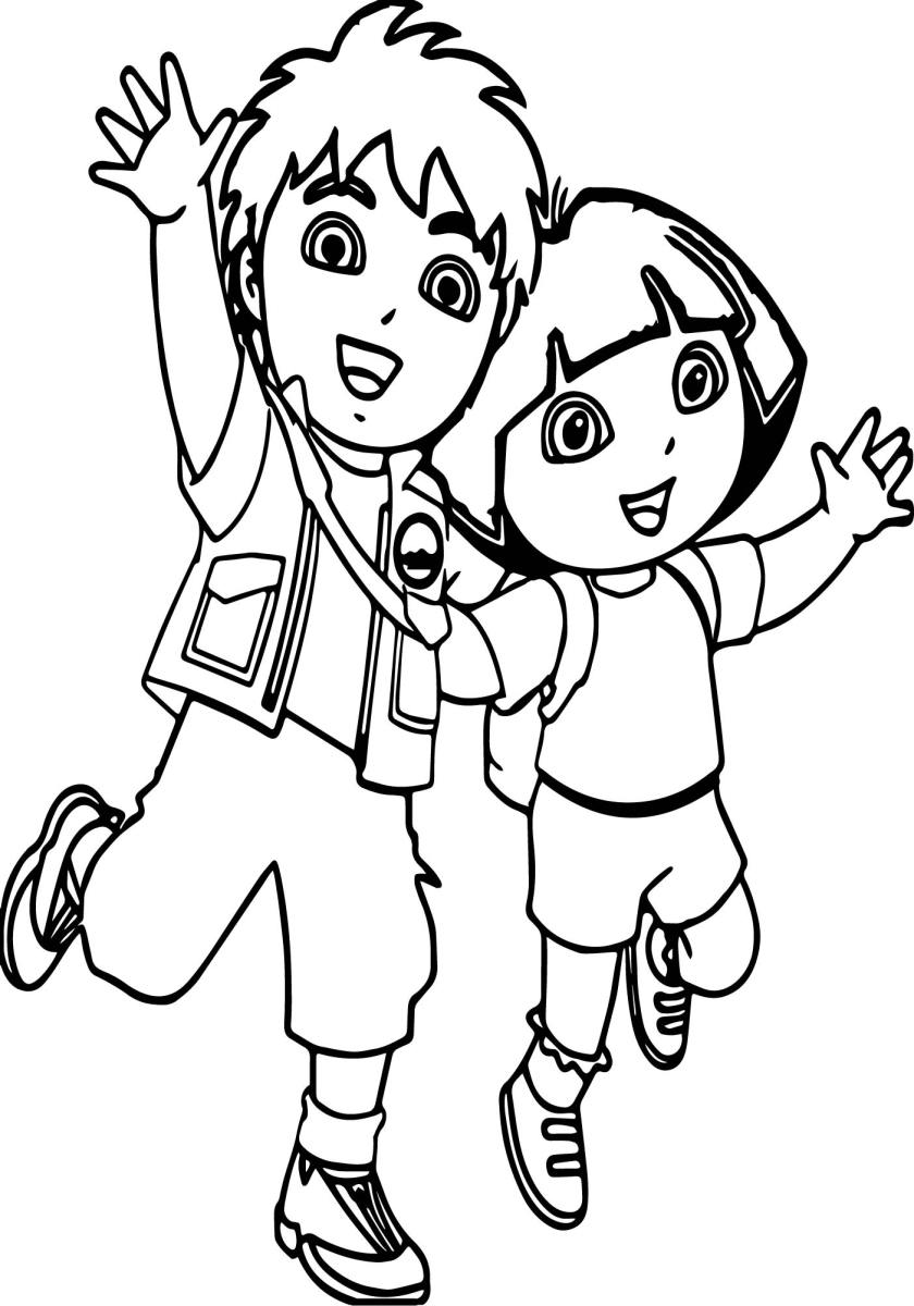 go diego go and girl coloring page  wecoloringpage