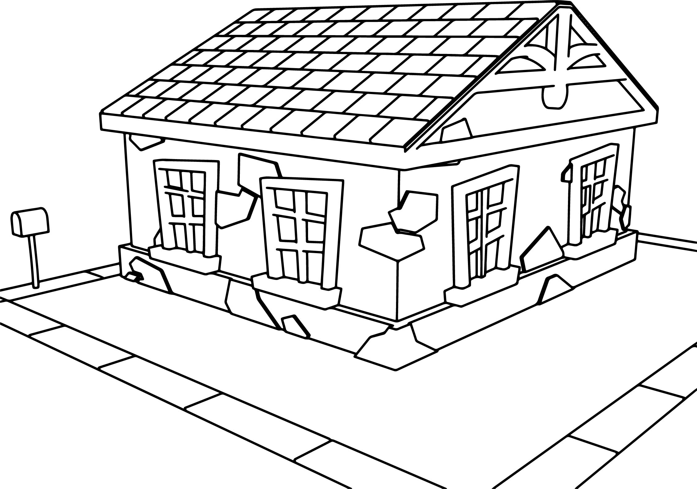 Tooned Cartoon House Coloring Page