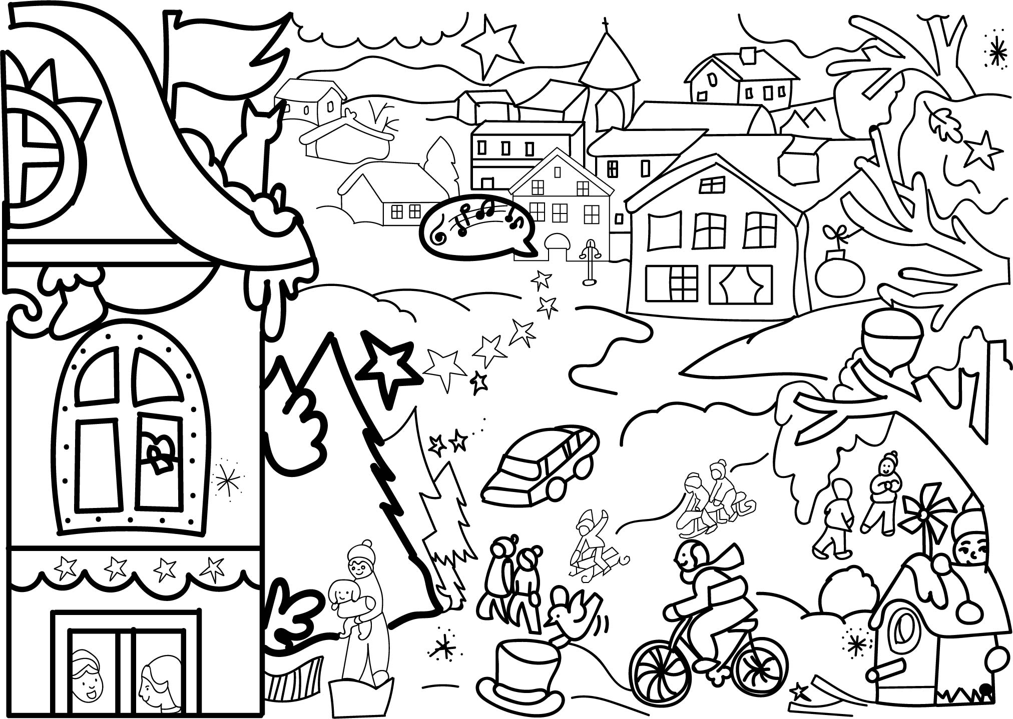 Activity Village Picture Coloring Page Wecoloringpage
