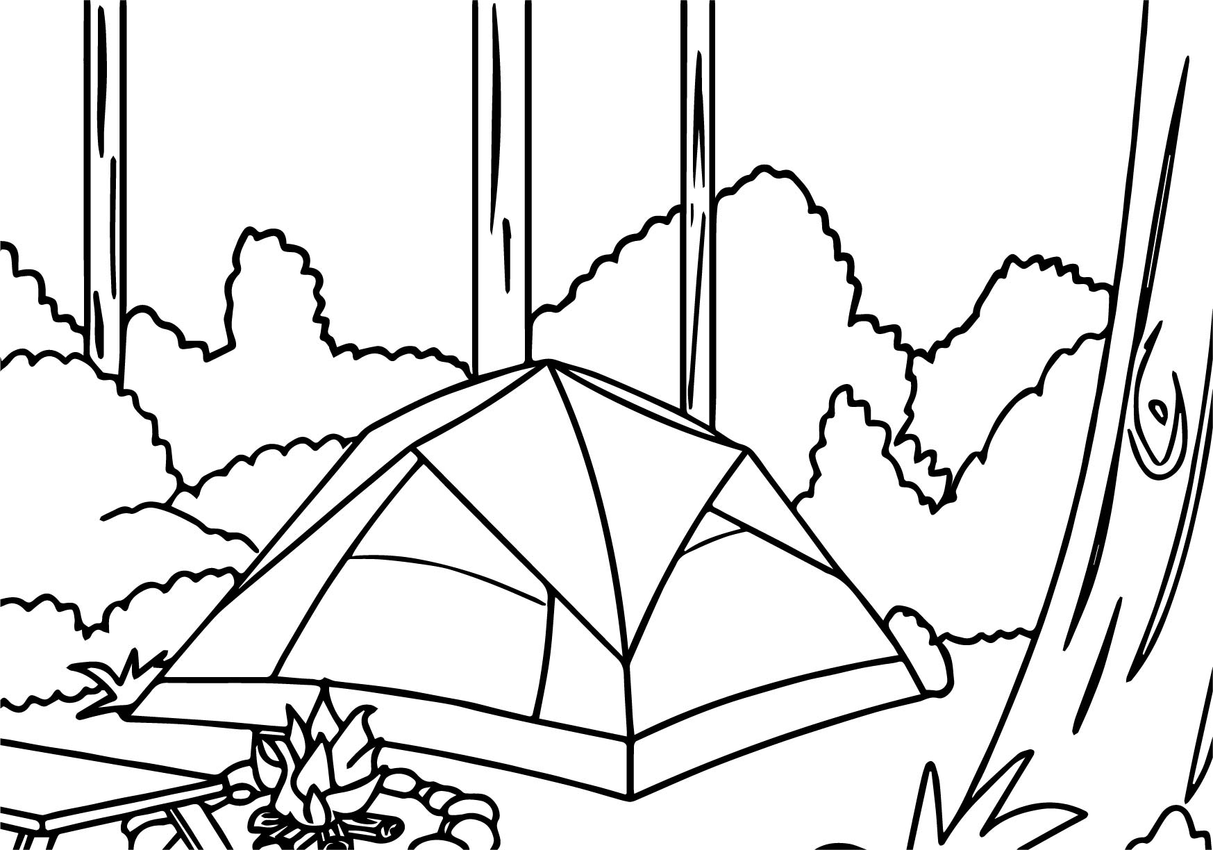 Camping Forest Coloring Page