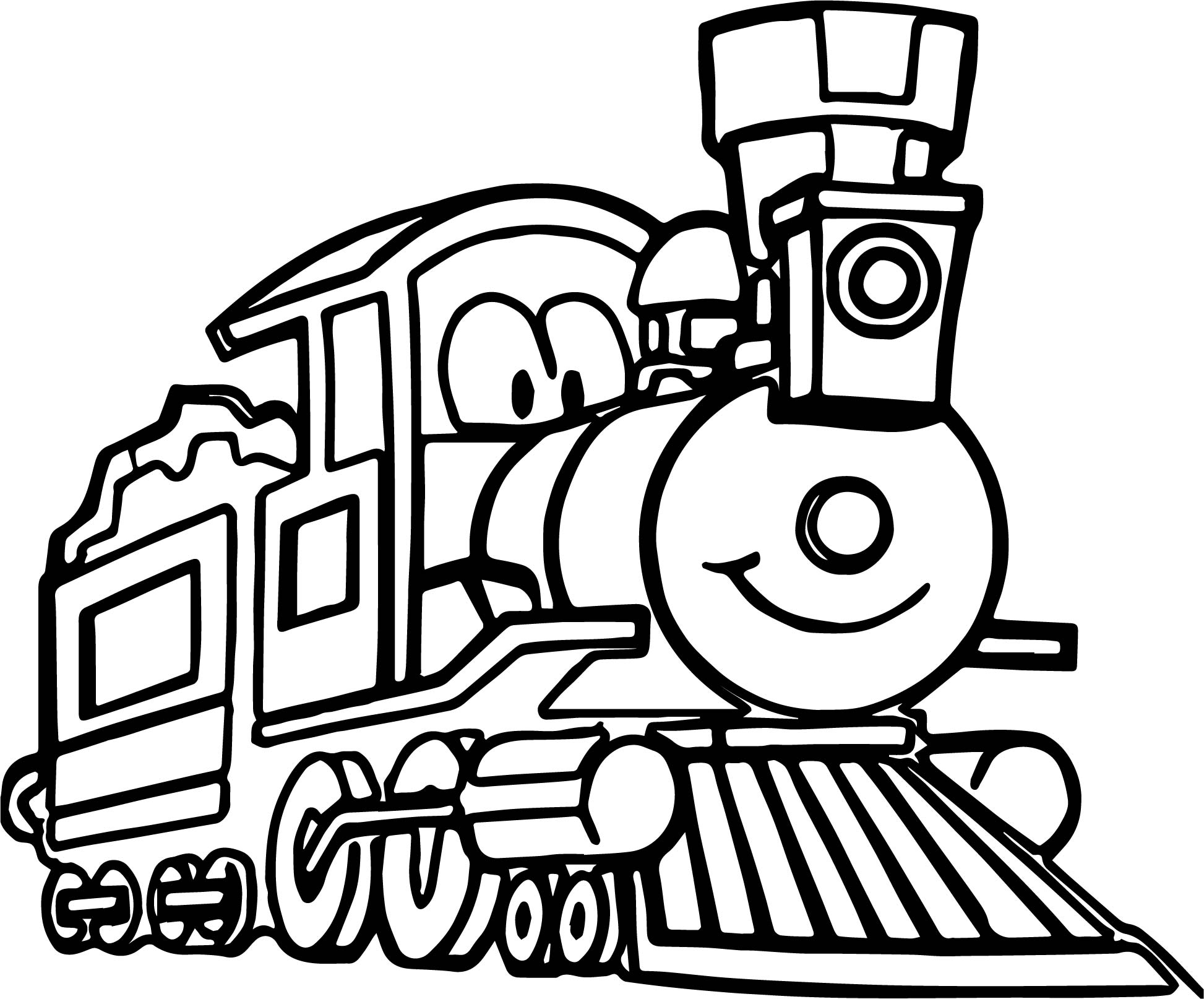 Cute Cartoon Train Coloring Page