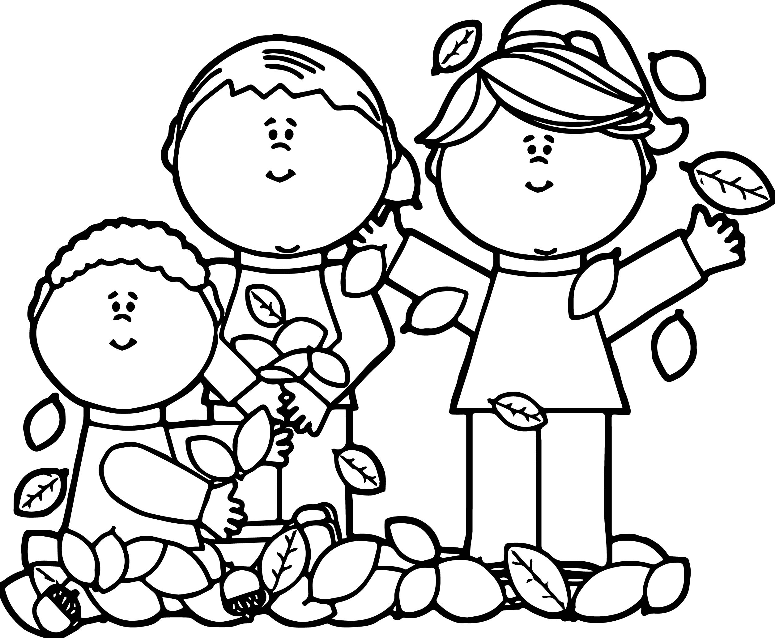 Kids Playing In Leaves Autumn Coloring Page