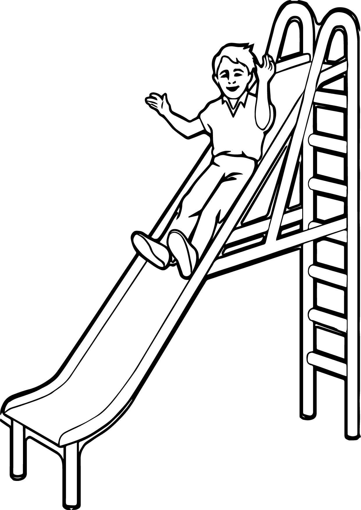 Playground Slide Kid Coloring Page