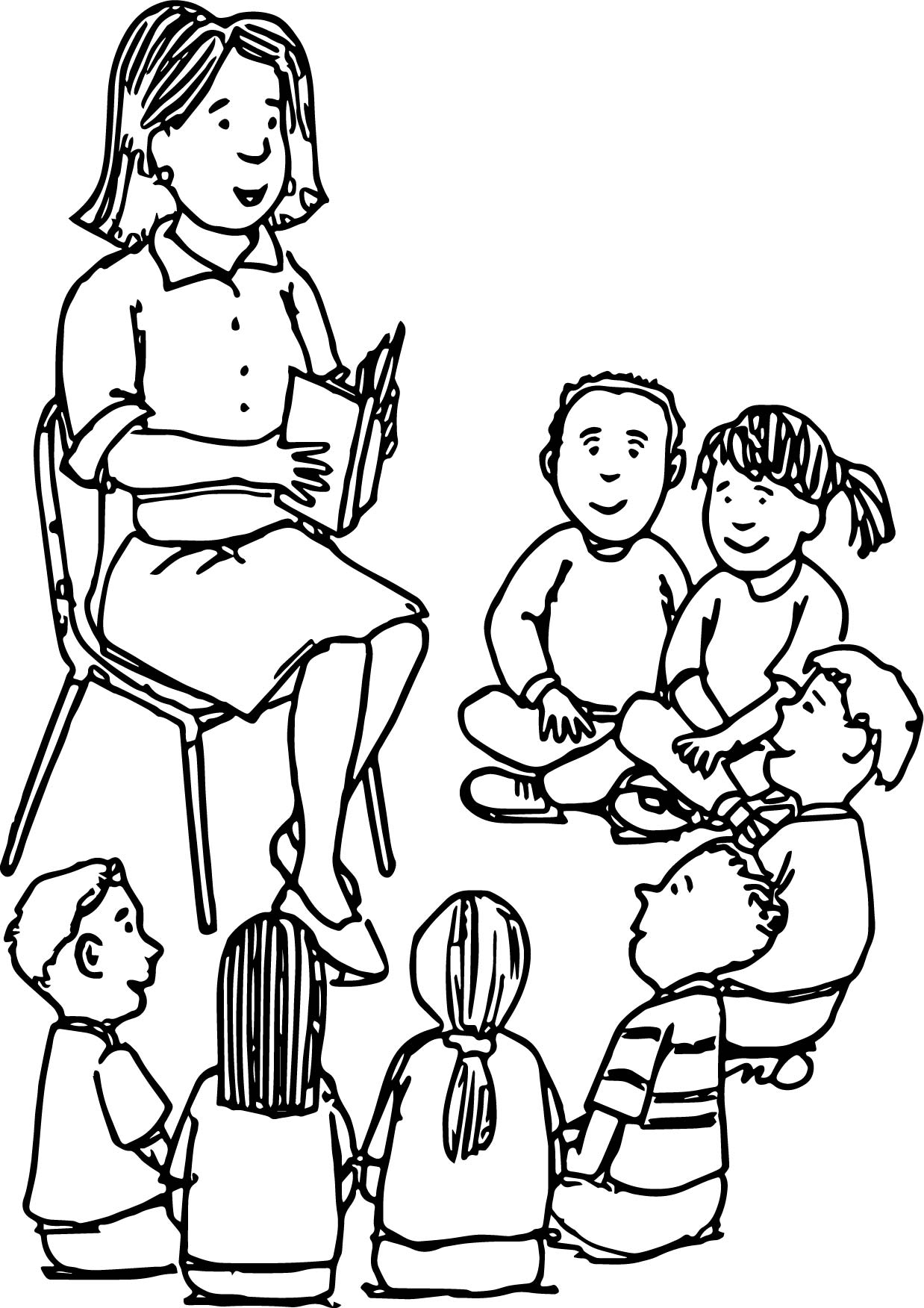 Reading Teacher All Student Coloring Page