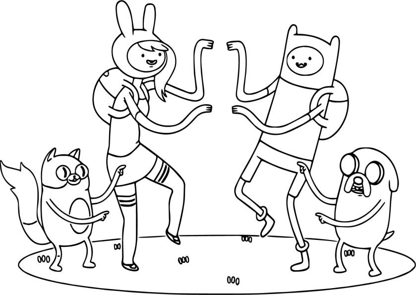 threadless adventure time team dance coloring page