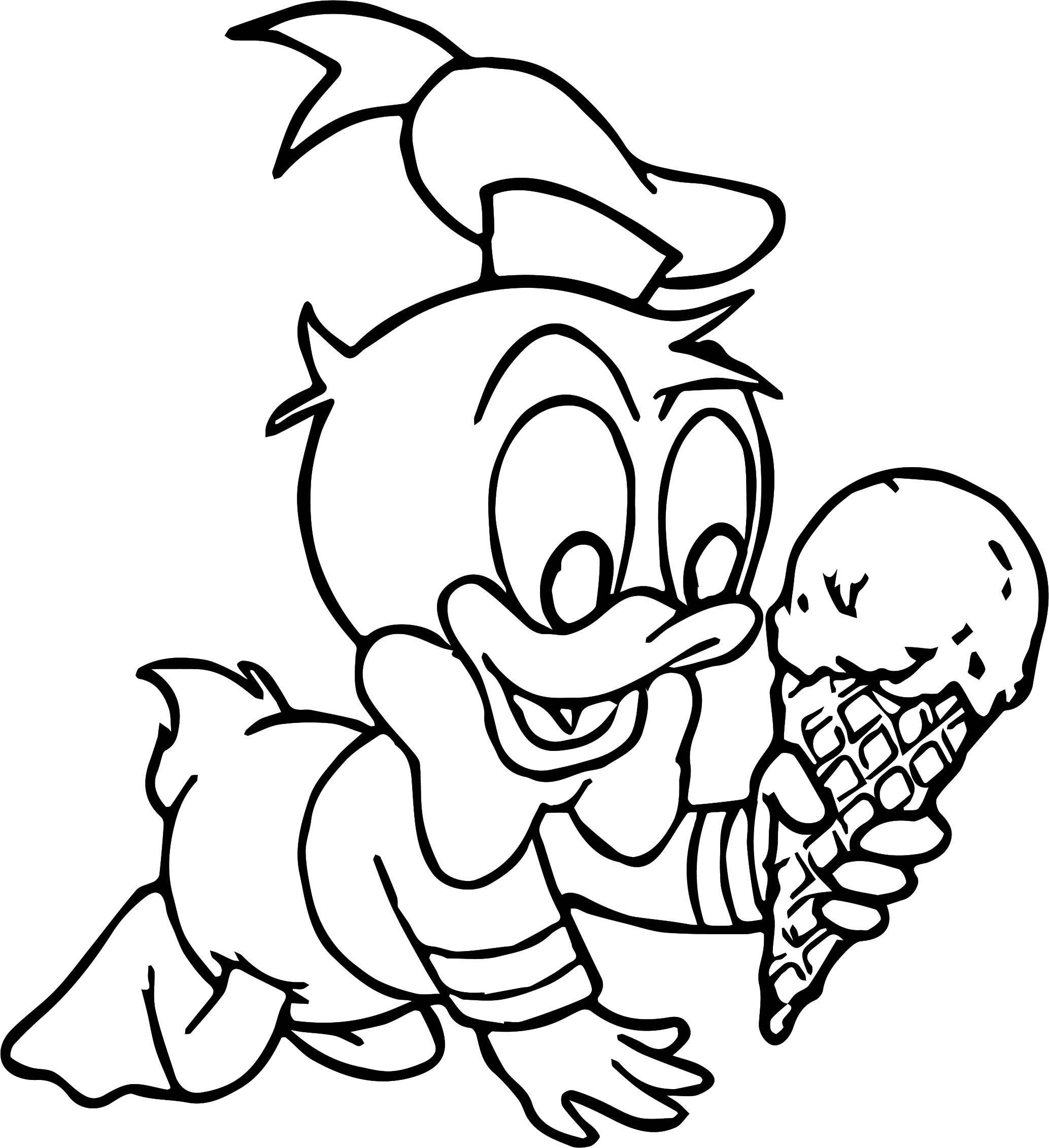 Baby Donald Duck Ice Cream Coloring Page