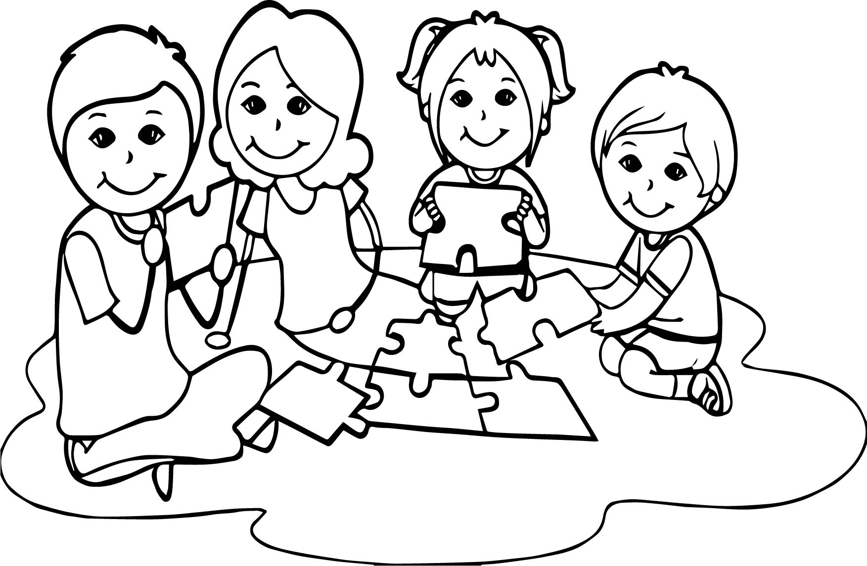 Board Children Puzzle Coloring Page