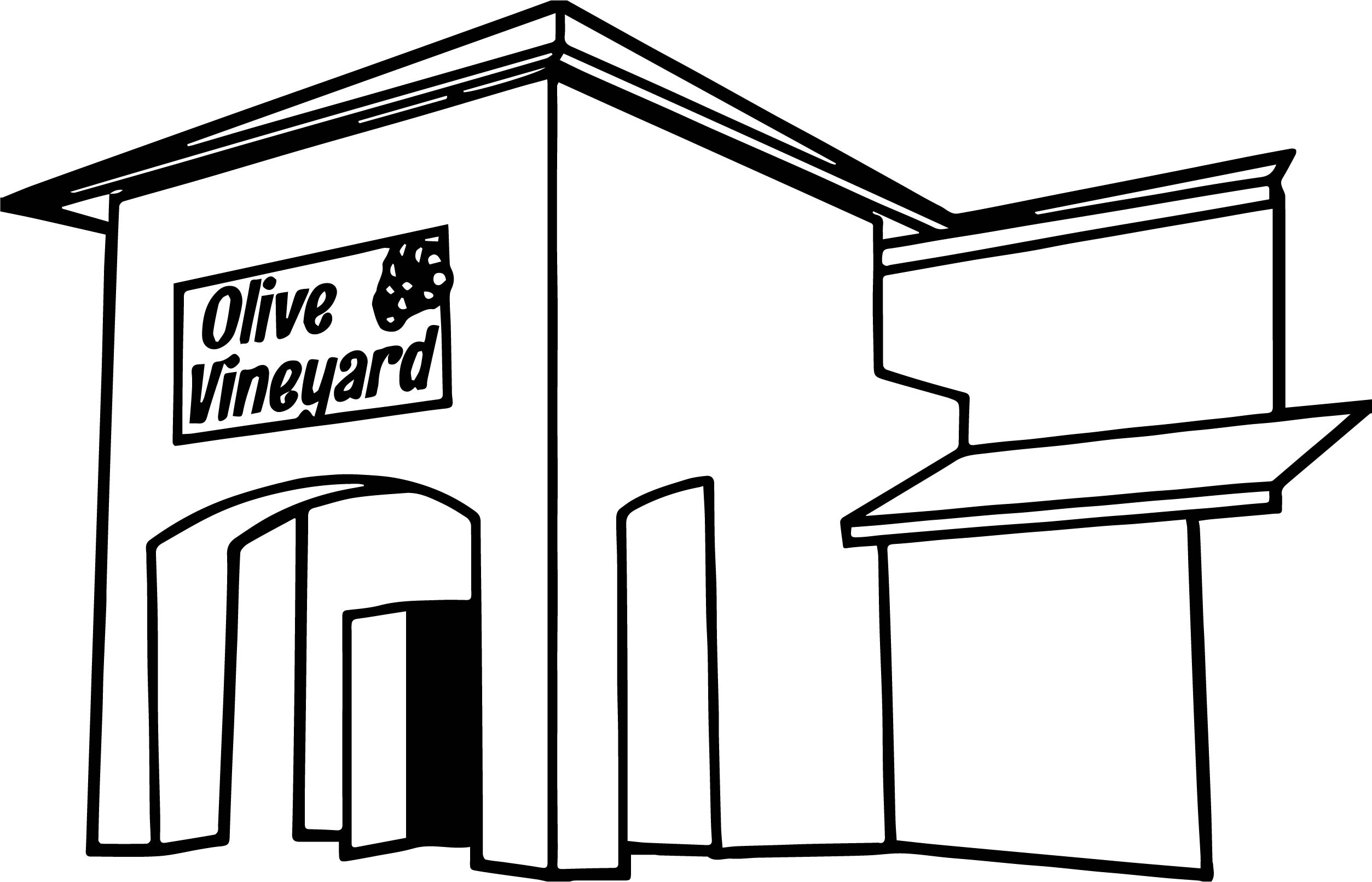 Olive Vineyard Building Front Of Restaurant Coloring Page