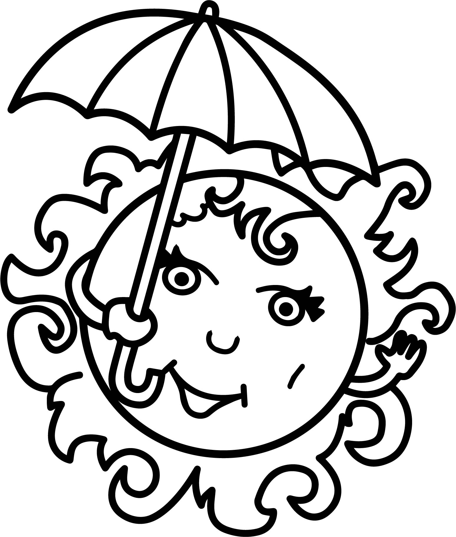 Summer Girl Sun Free Coloring Page