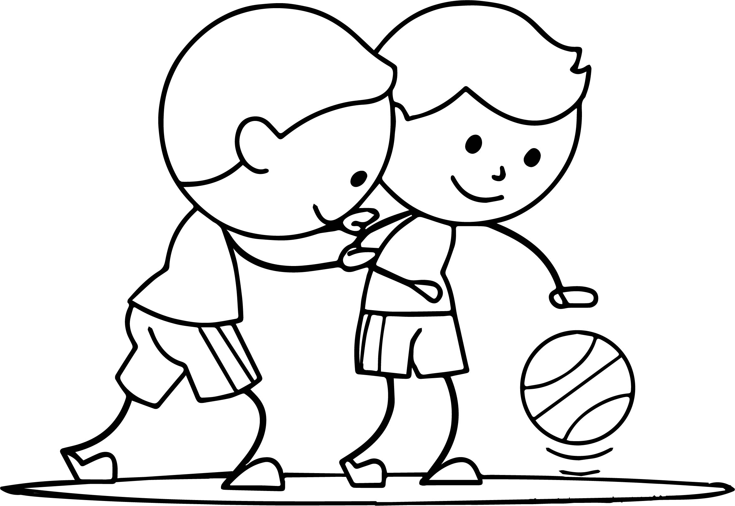 Two Boys Playing Basketball Coloring Page