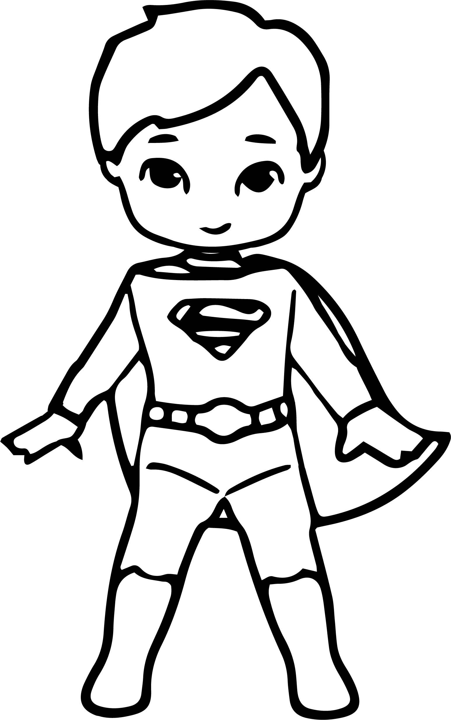 Waiting Cartoon Superhero Superman Kid Coloring Page Wecoloringpage