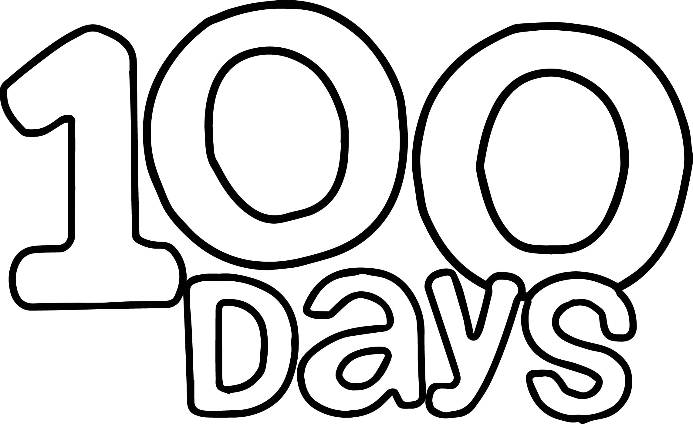 100 Days Text Coloring Page
