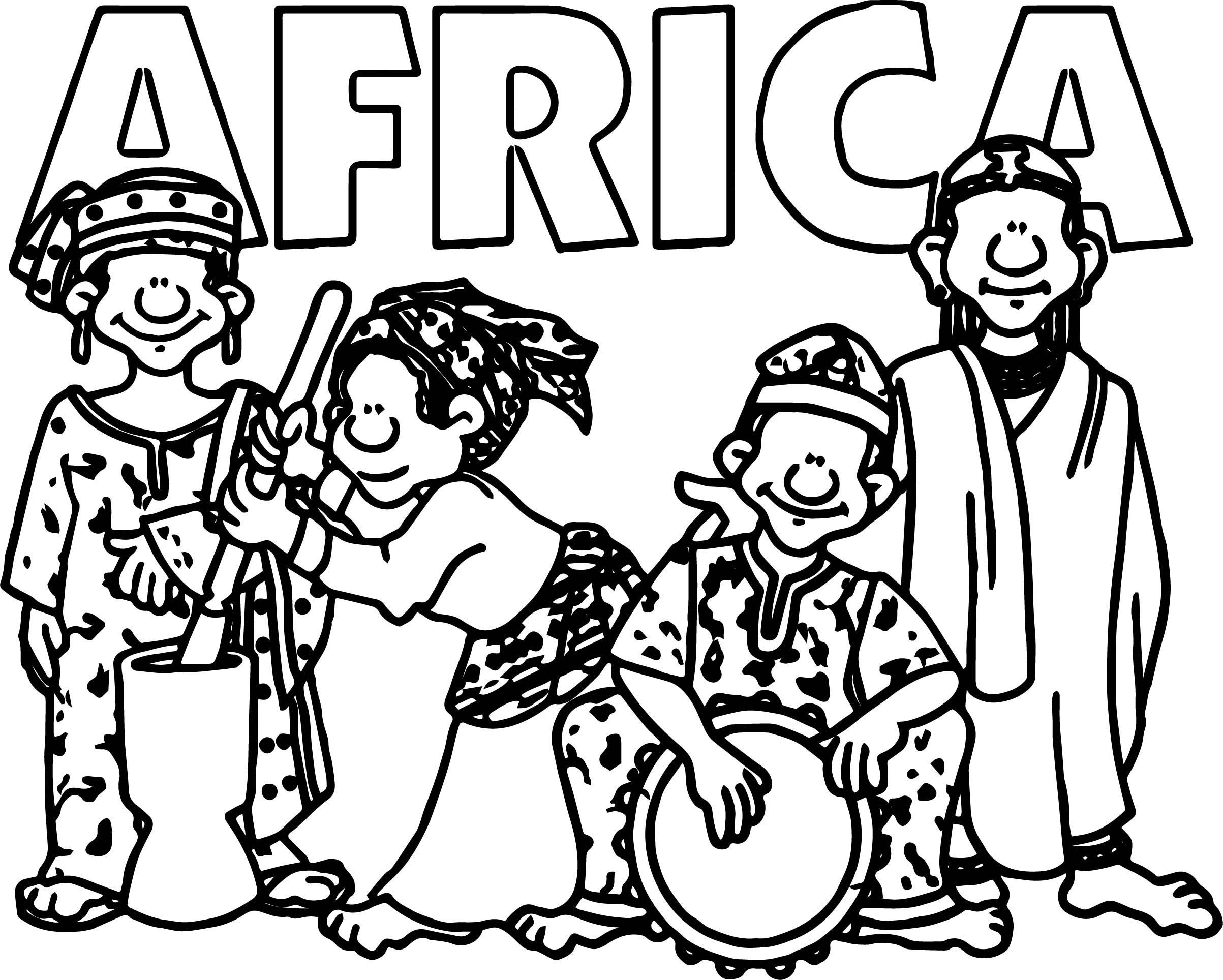 African Welcome Group Coloring Page
