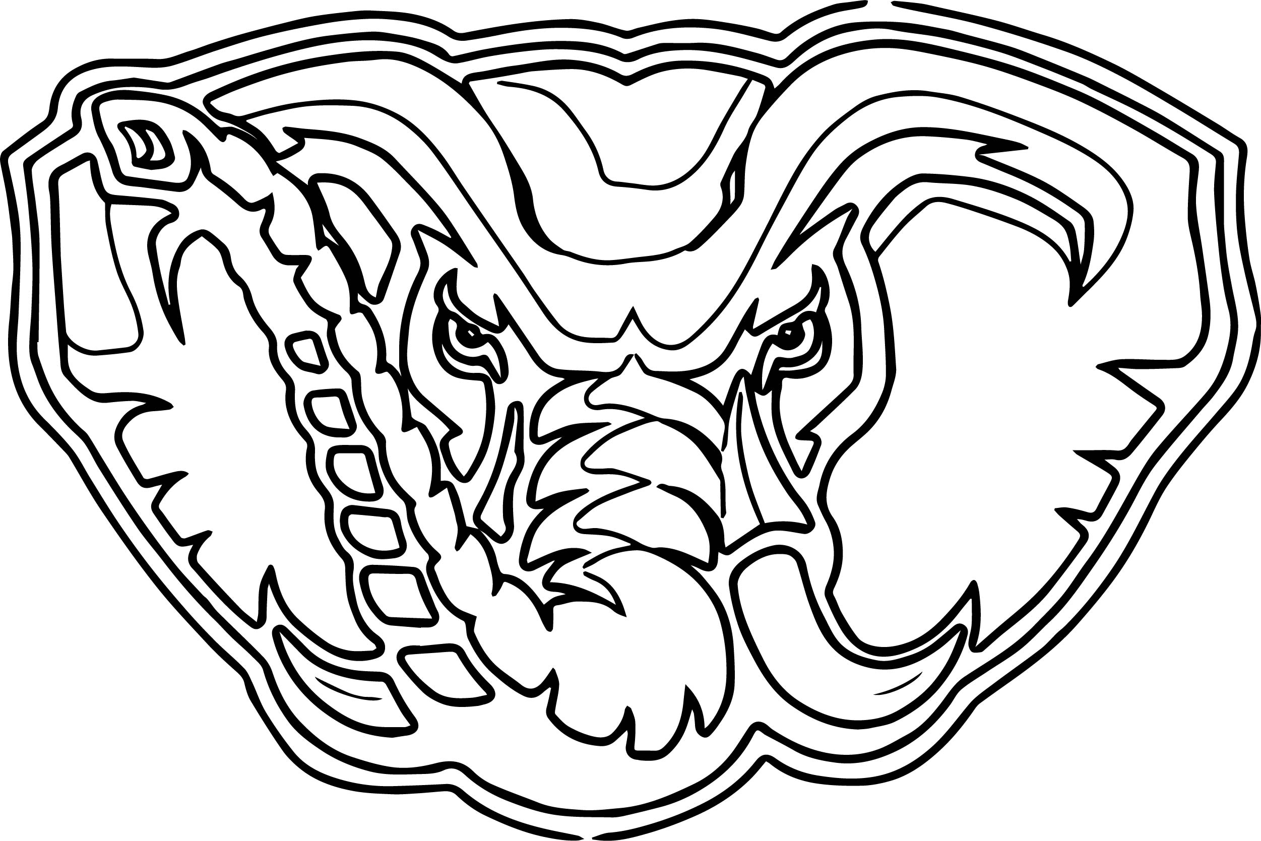 Alabama Elephant Face Outline Coloring Page