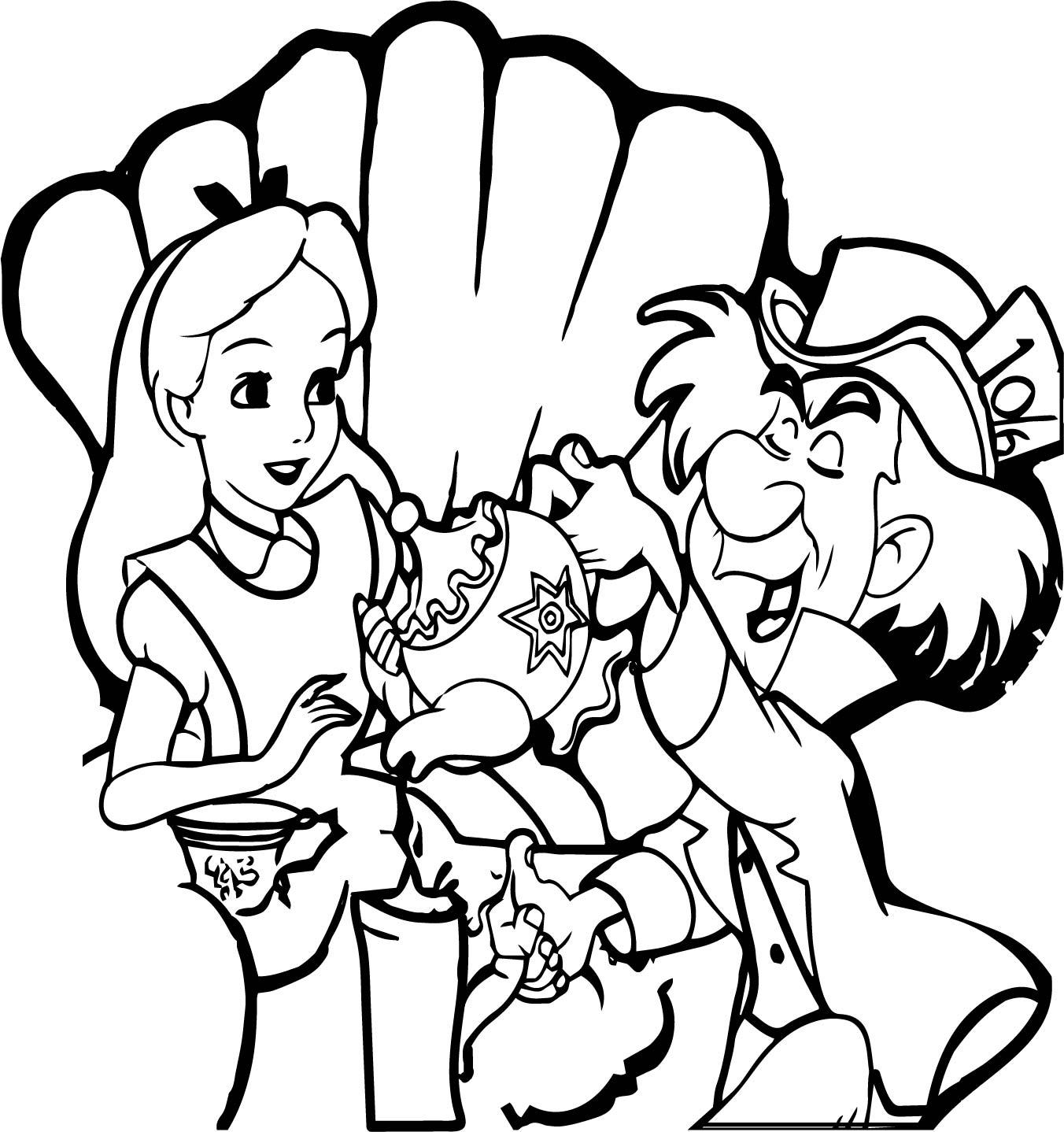 Alice In Wonderland 60th Alice Drink Tea Coloring Page