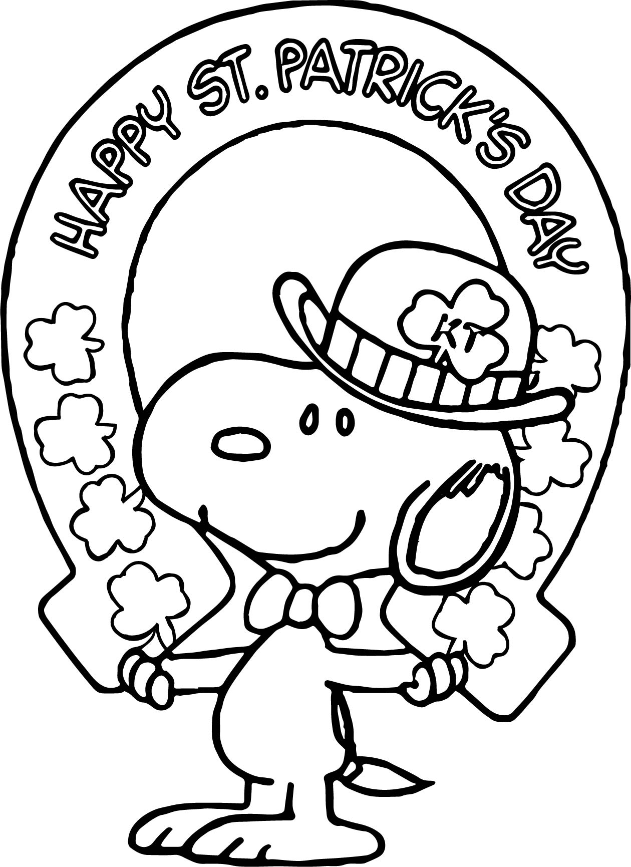 Beachy St Patrick Snoopy All Saint Day Coloring Page