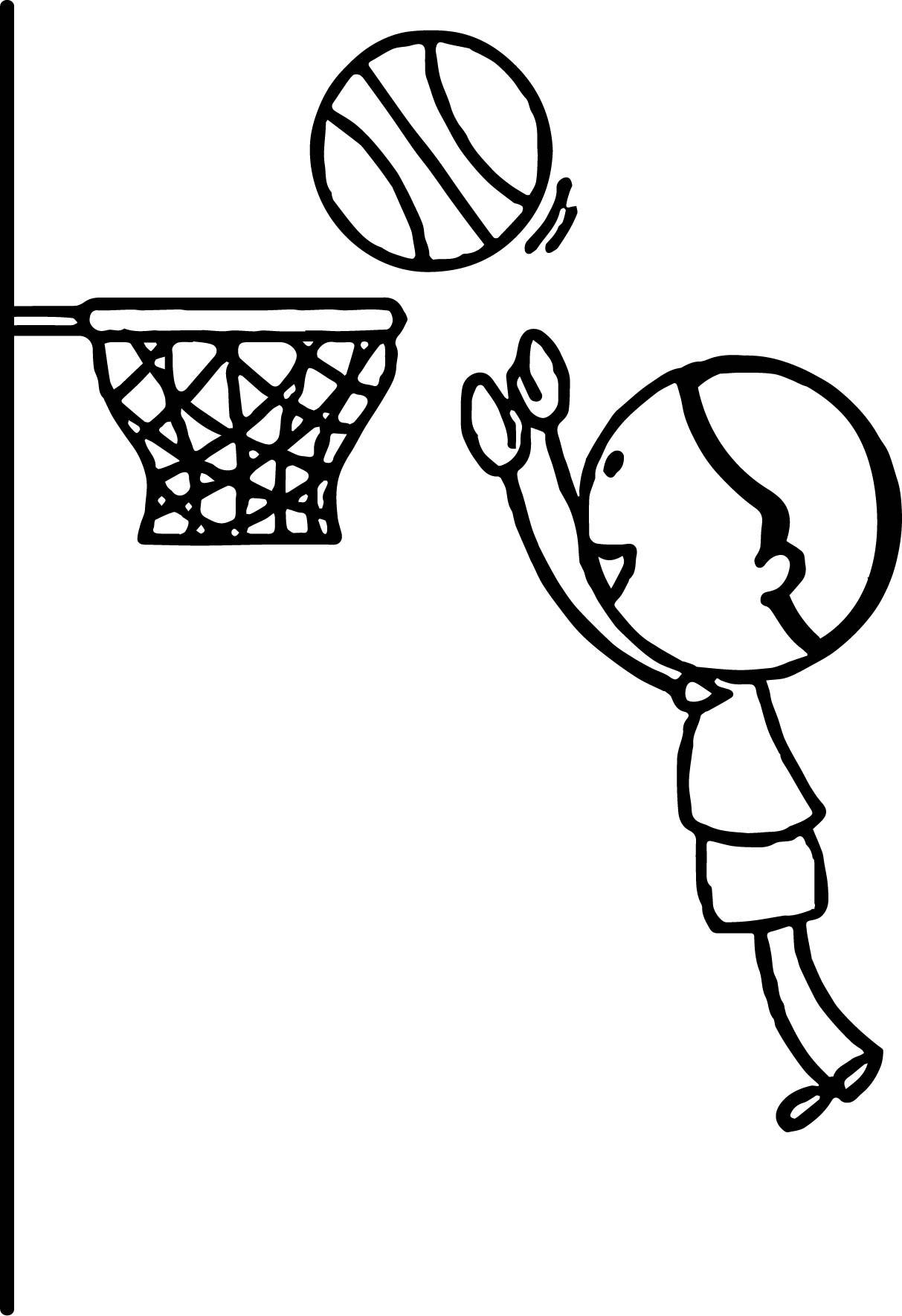Boy Playing Basketball Jumping To Hoop Playing Basketball