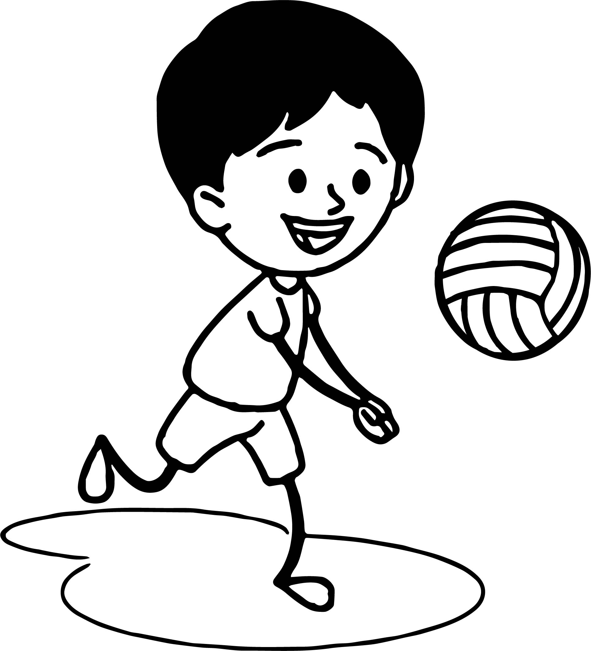 Boy Playing Volleyball Coloring Page
