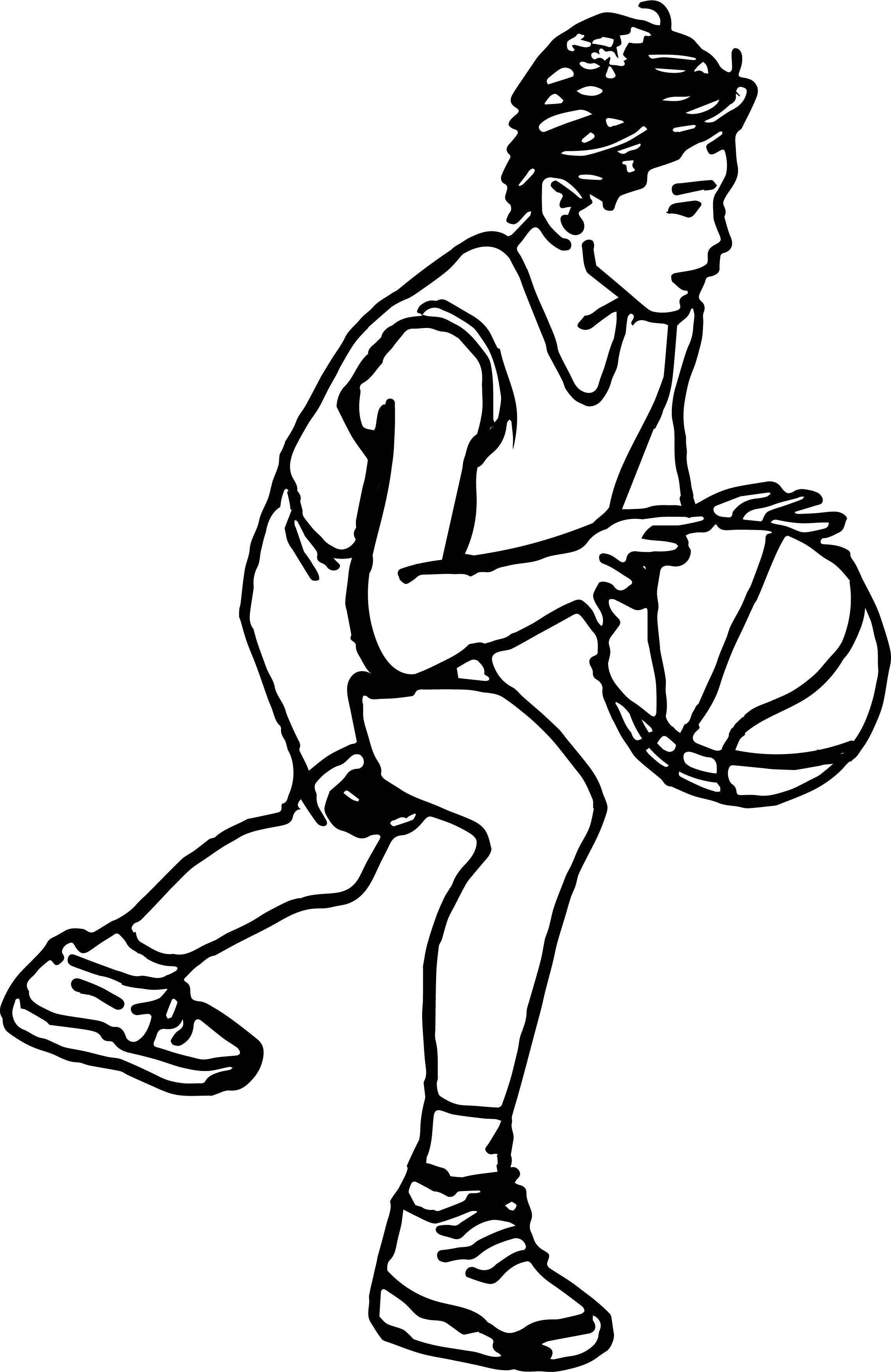 Cartoon Boy Playing Basketball Coloring Page