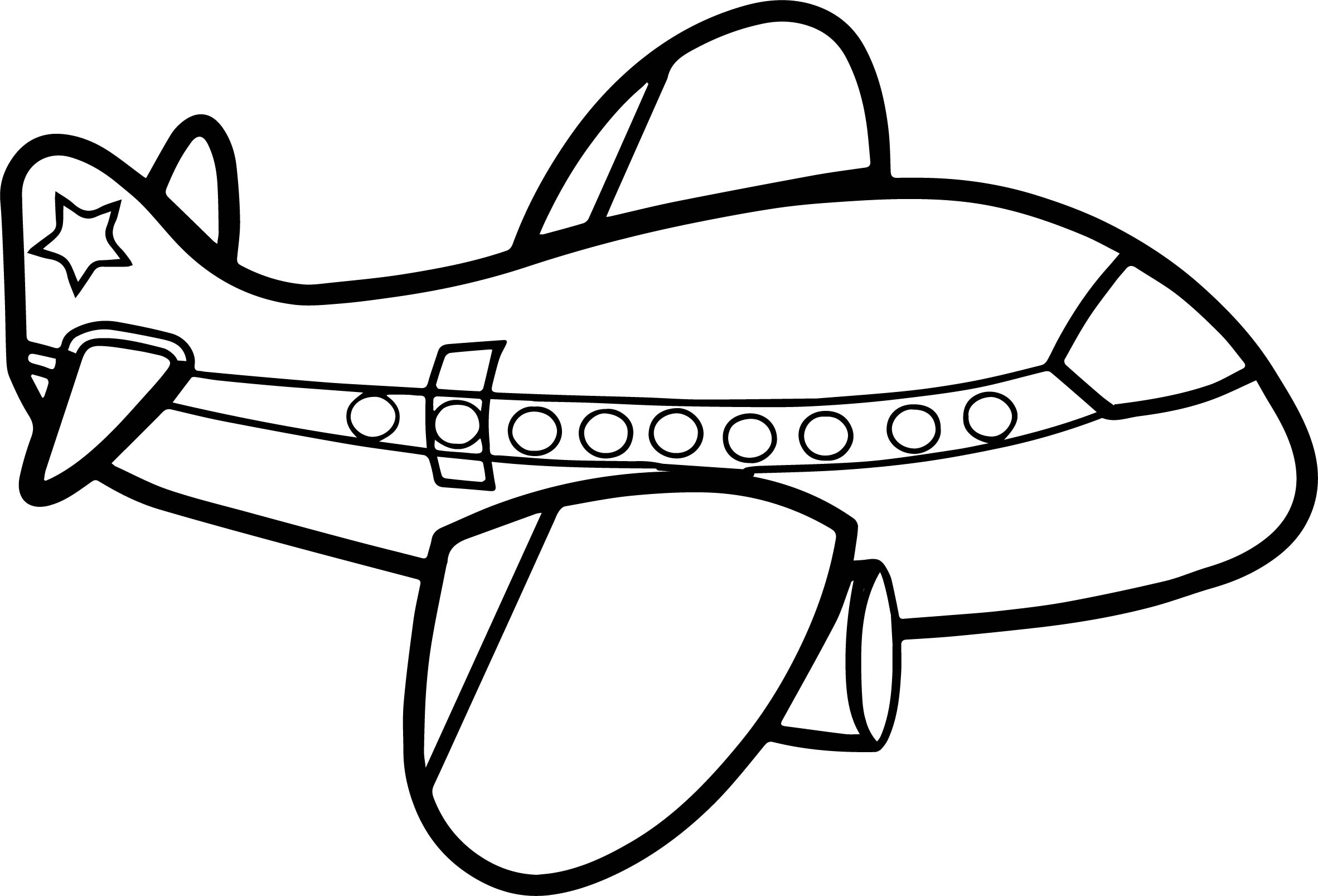 Cute Big Airplane Coloring Page