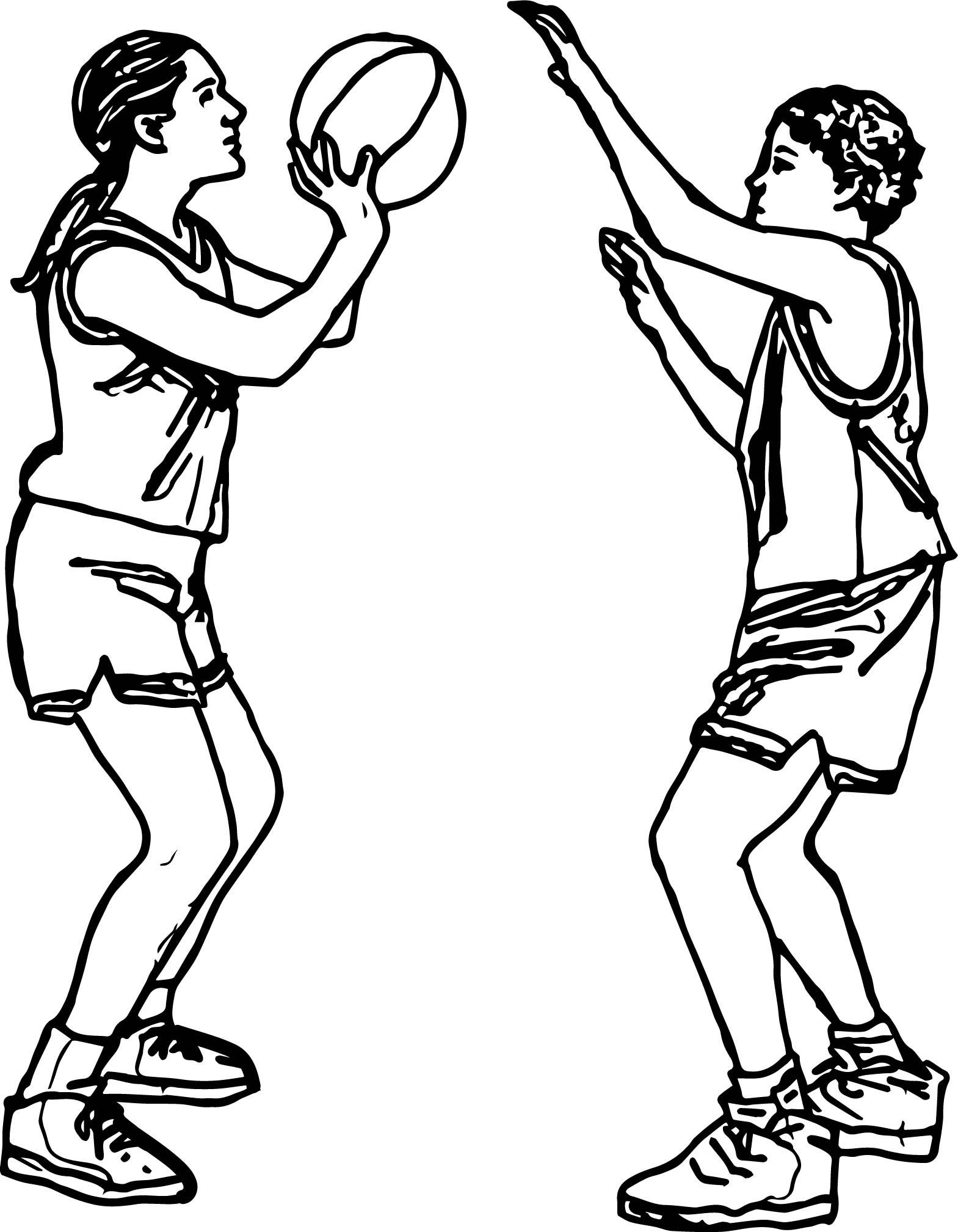 Girl Shooting Basketball Playing Basketball Coloring Page