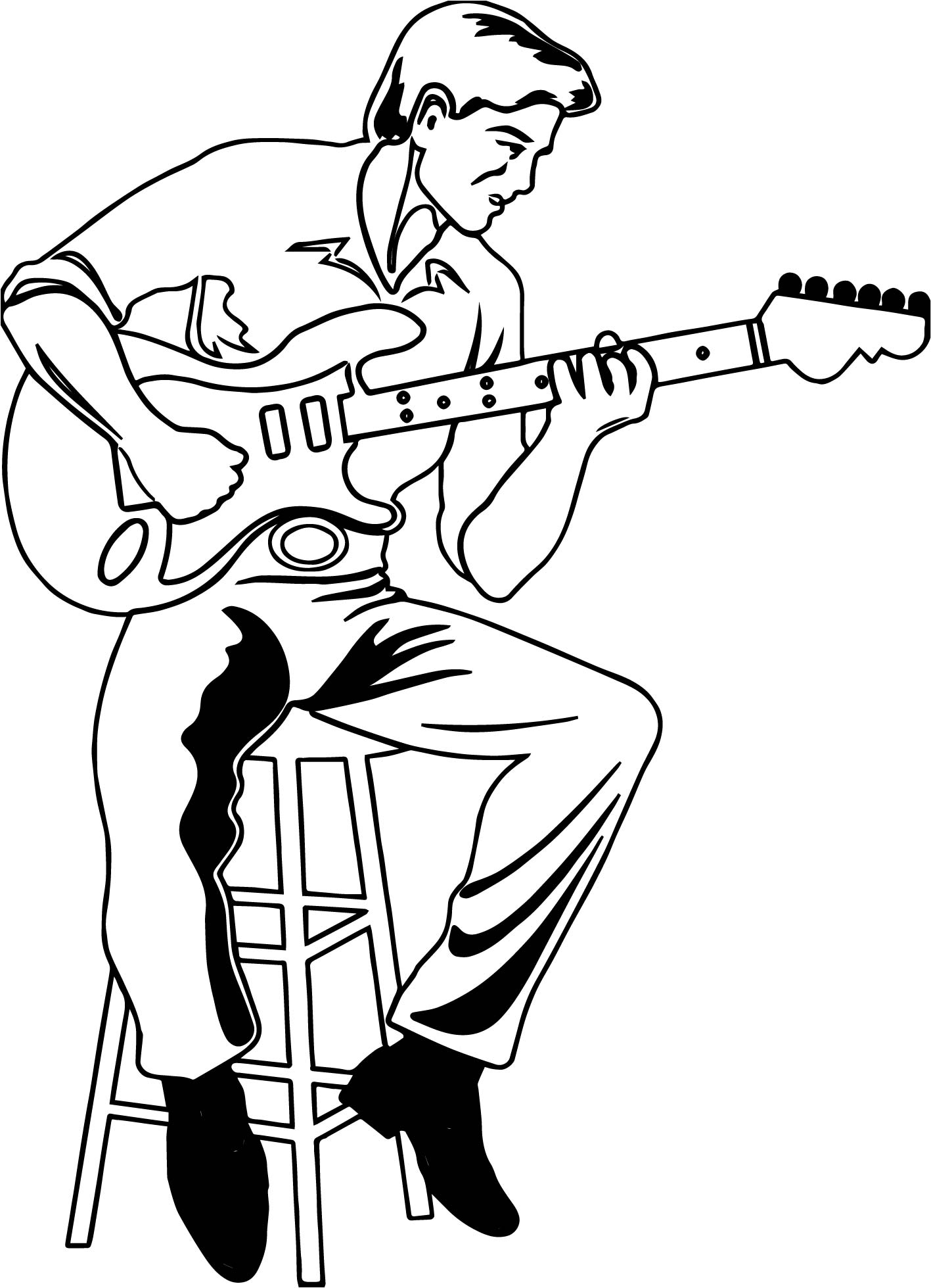 Illustration Of A Man Playing An Electric Playing The