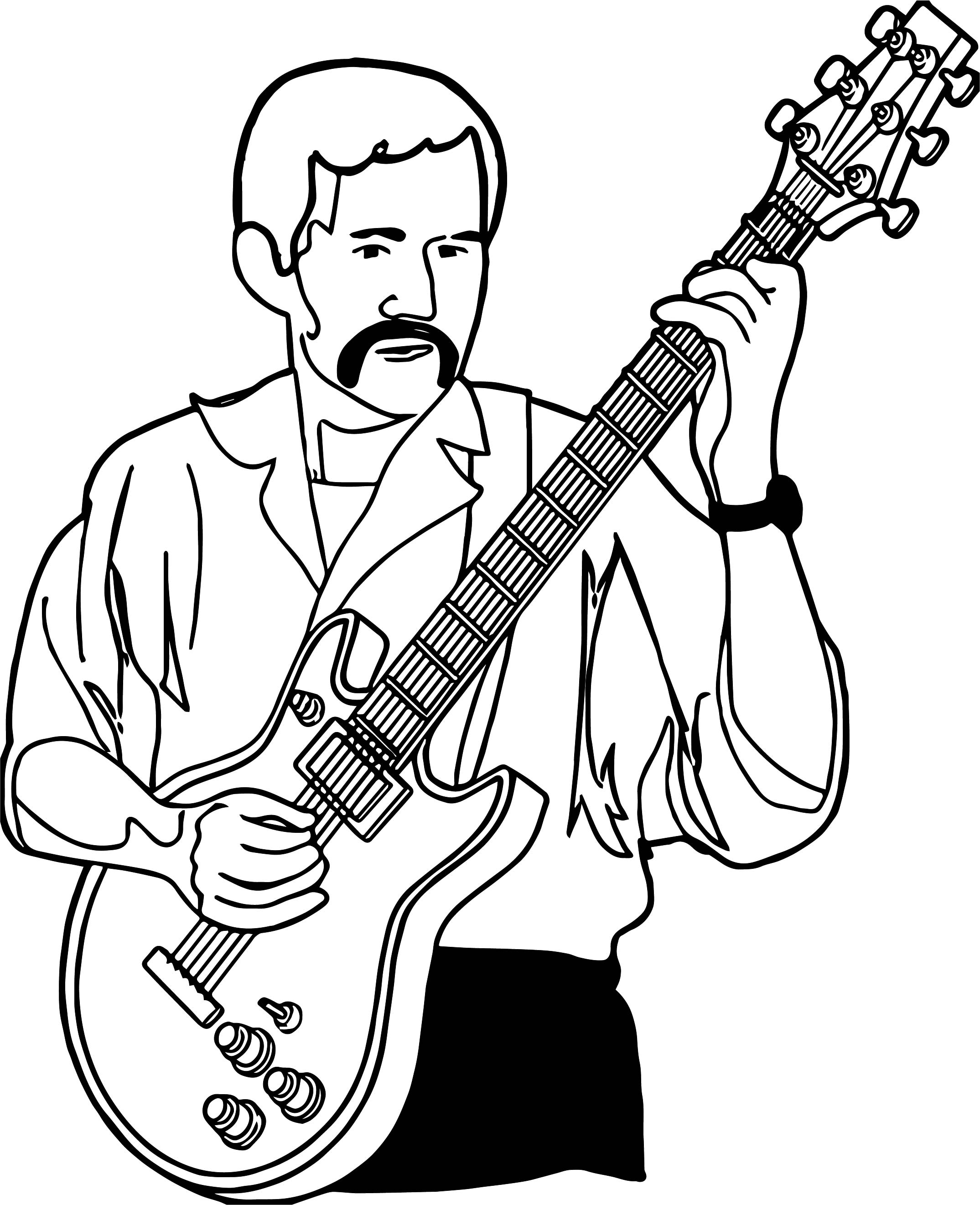 Acoustic Guitars Colouring Pages Sketch Coloring Page