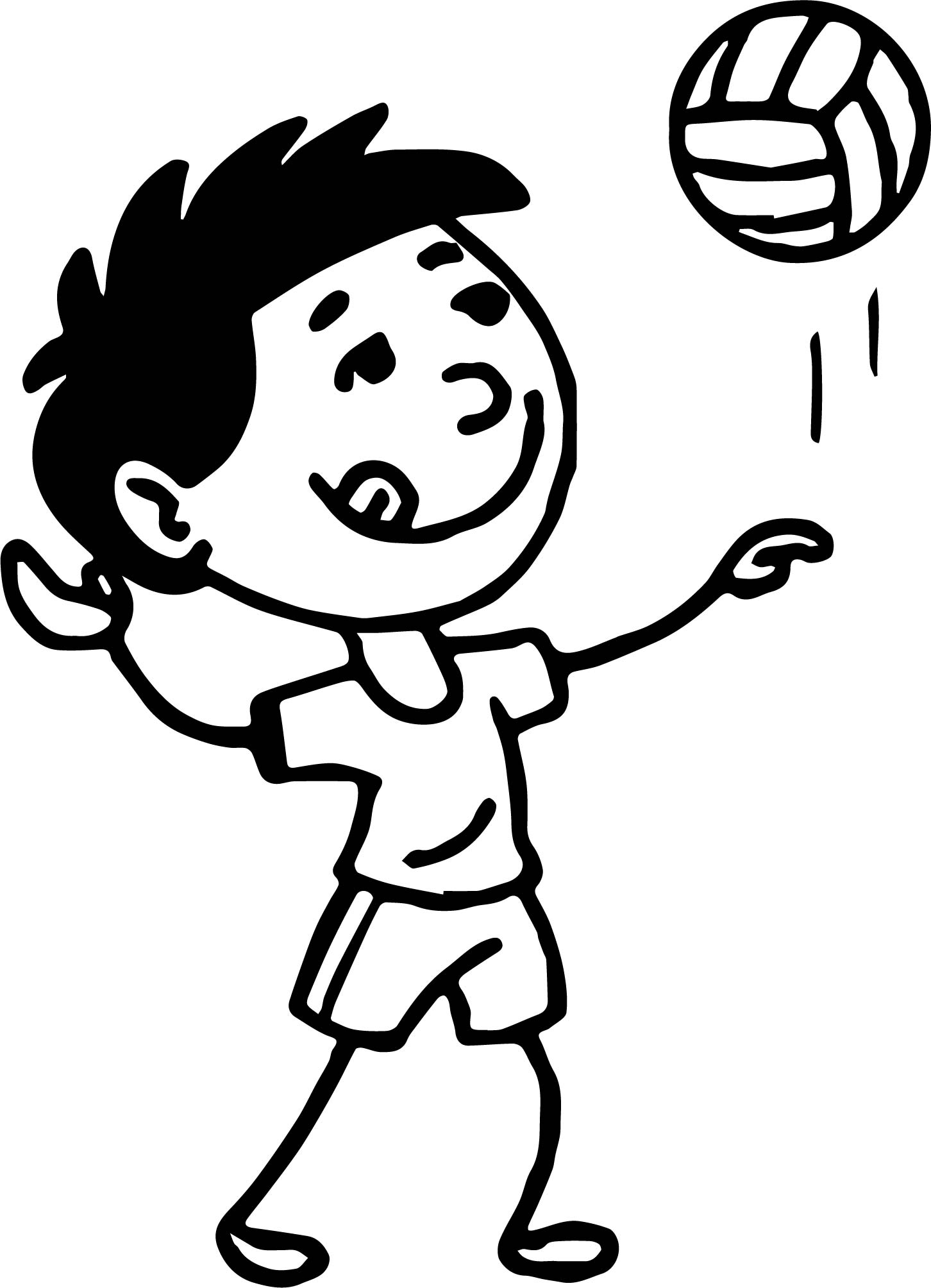 Serving Volleyball On The Beach Coloring Page