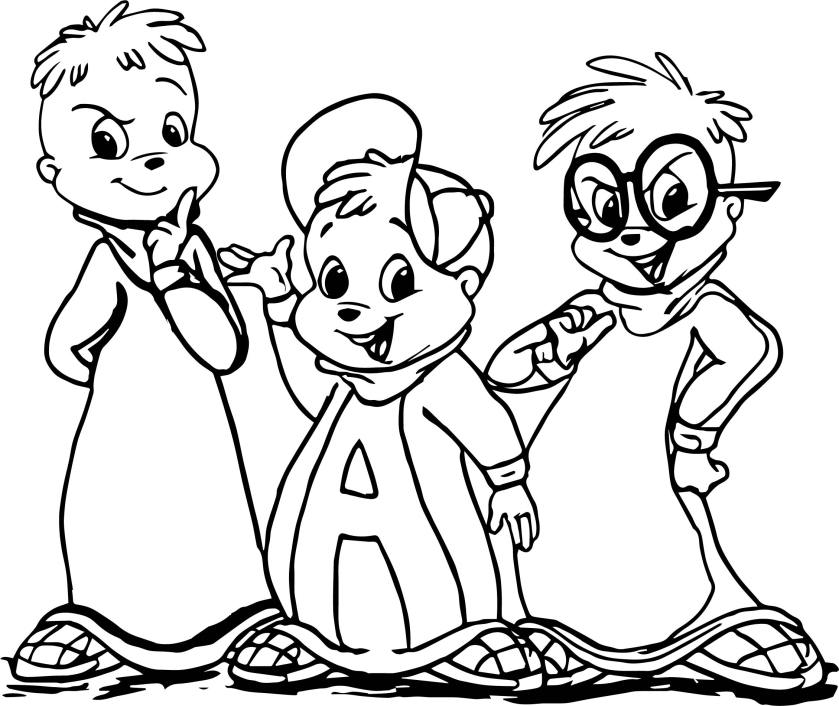 alvin and chipmunks cartoon coloring page  wecoloringpage