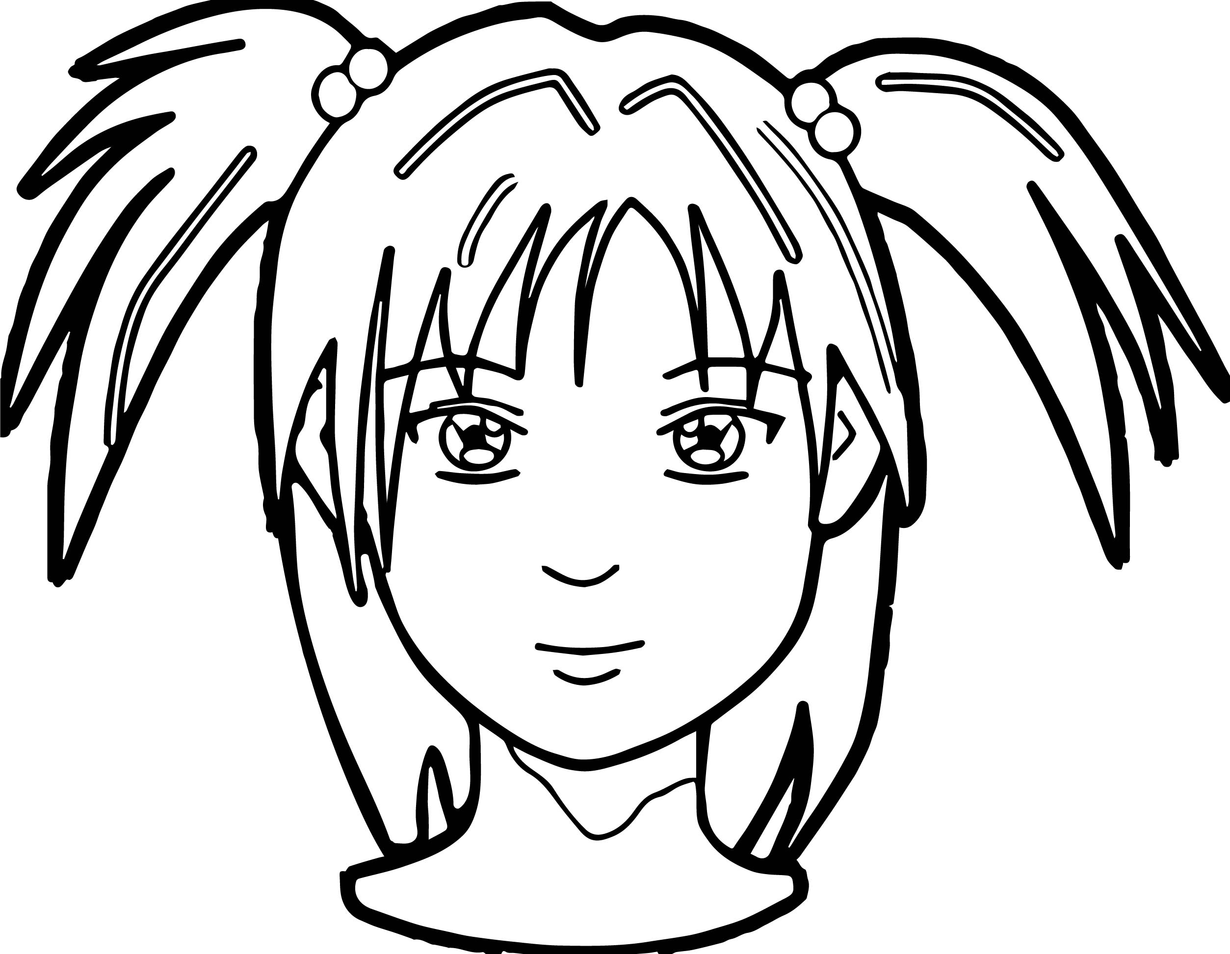 Anime Girl Face Coloring Page Wecoloringpage