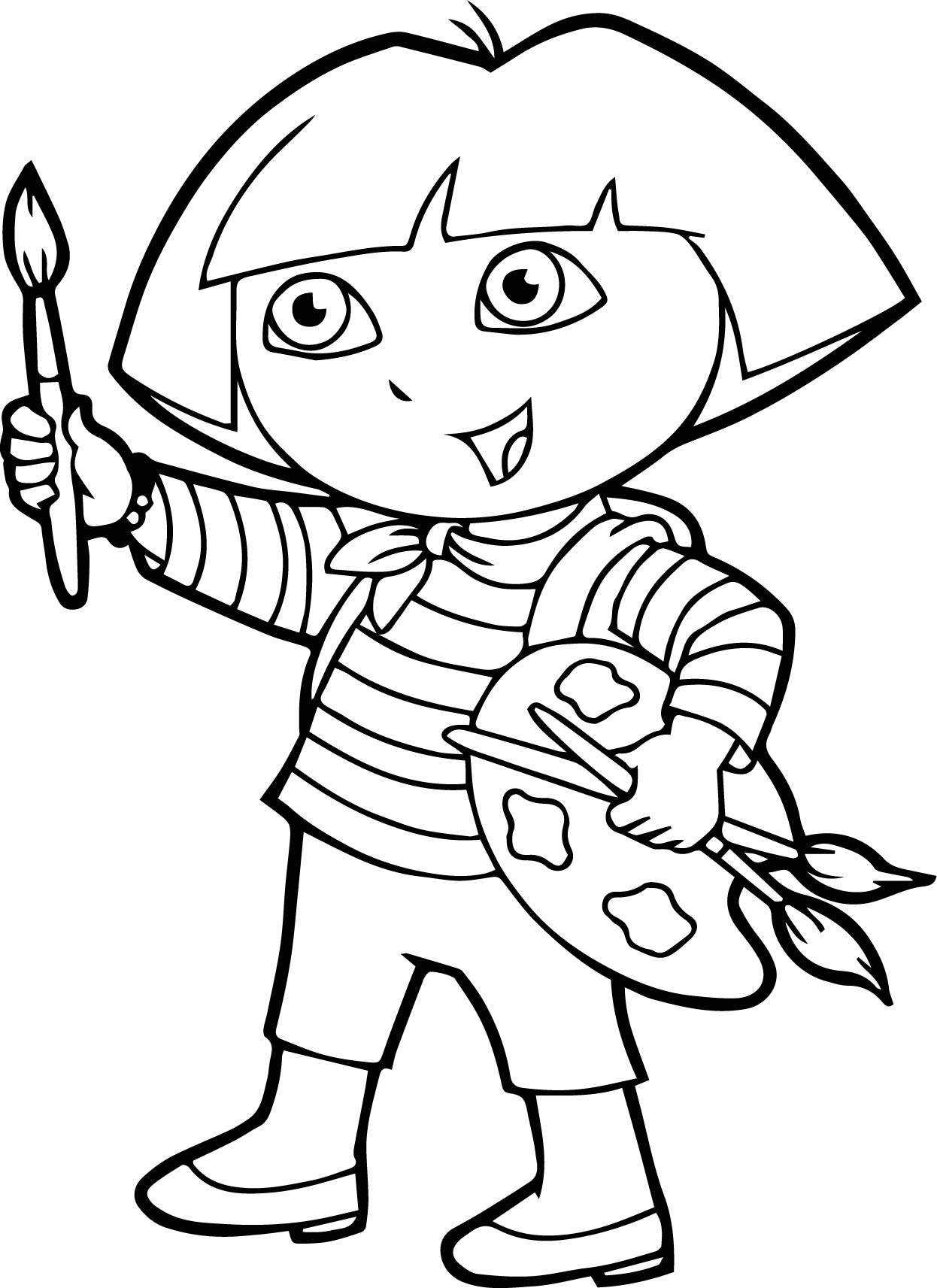 Dora Painting Coloring Page