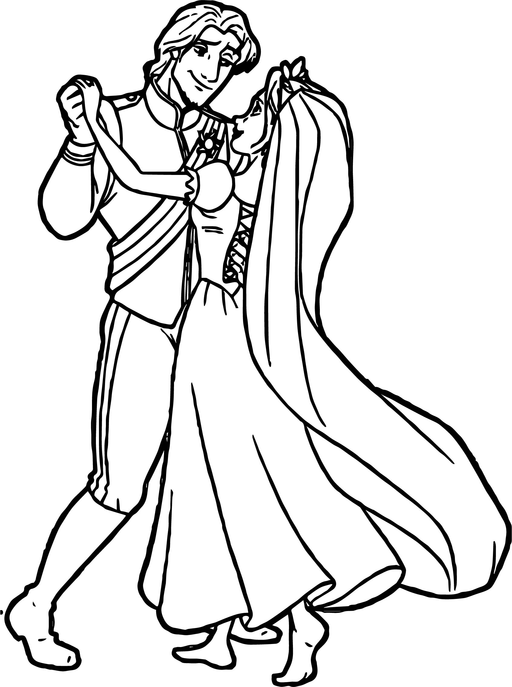 Rapunzel Flynn Wedding Dance Coloring Pages
