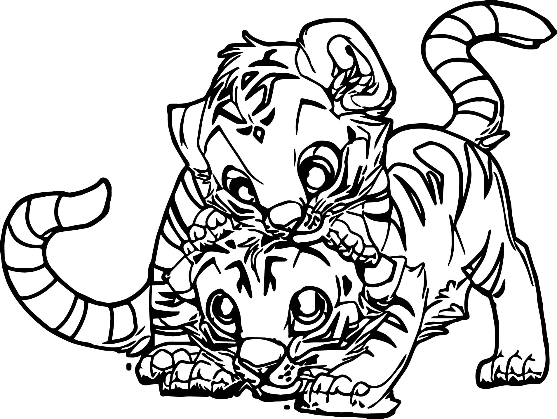 Two Baby Tiger Coloring Page
