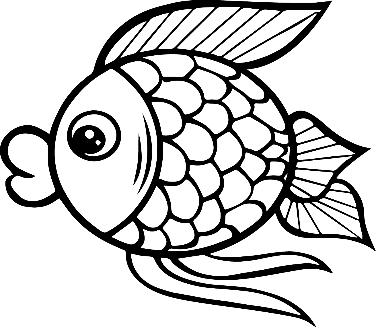 Big Mouth Cartoon Fish Coloring Page Sheet