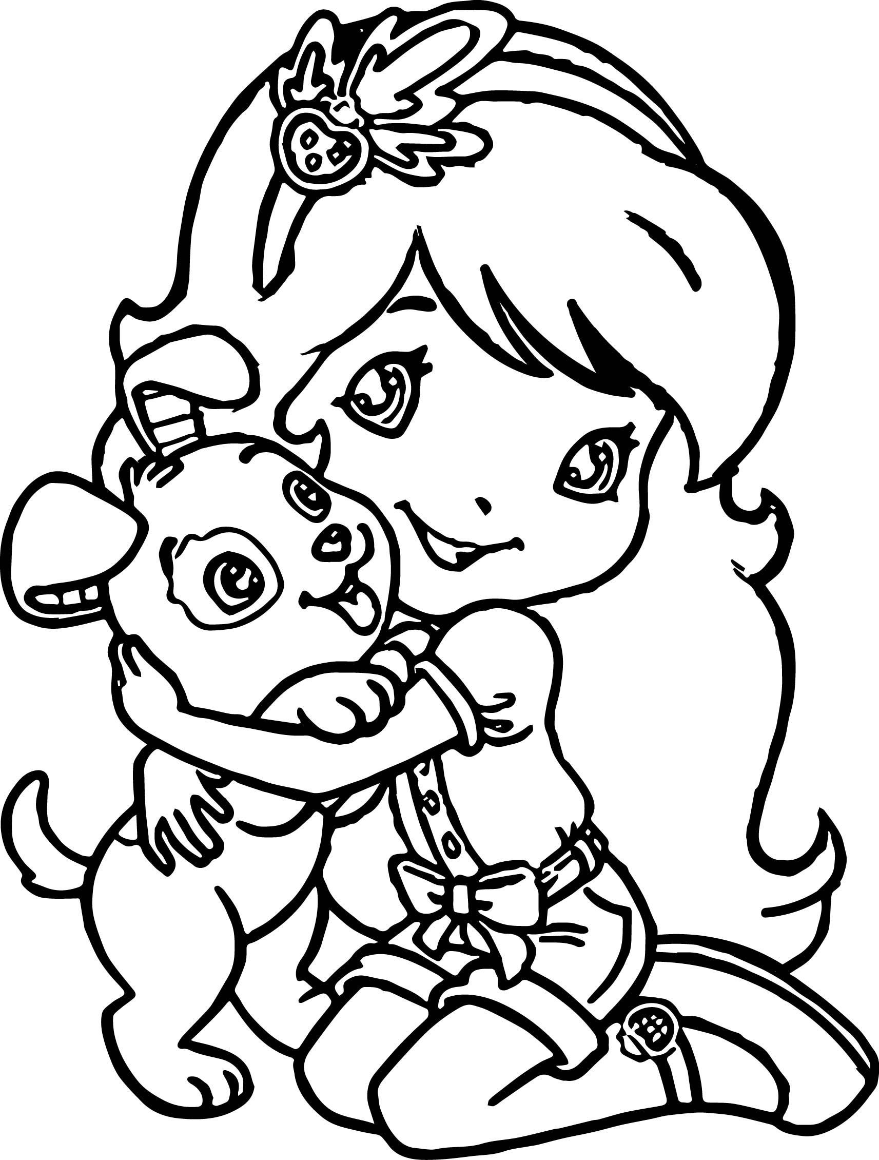 Strawberry Girl Love Dog Coloring Page