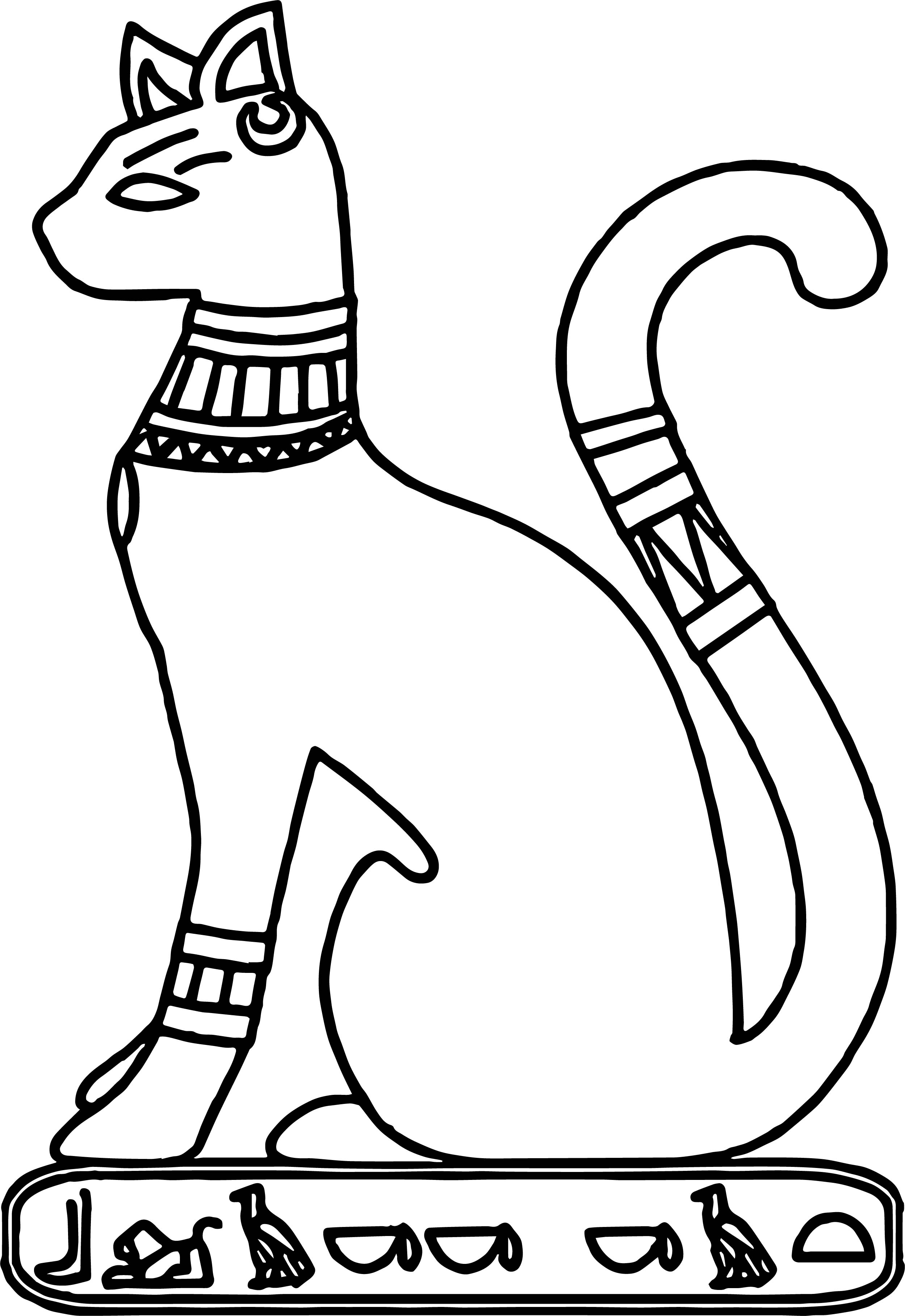 Ancient Egypt Cat Coloring Page