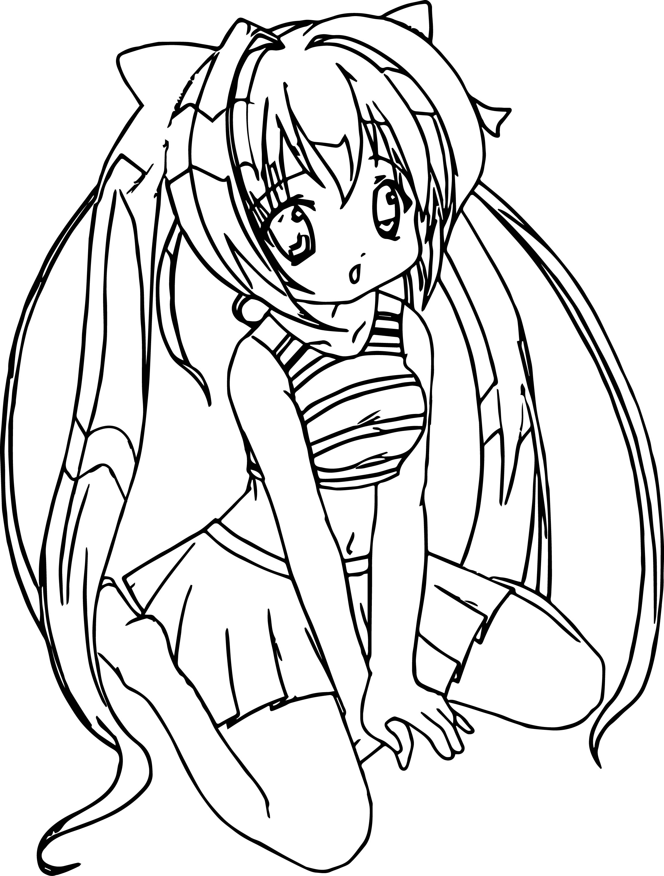 Anime Girl Student Coloring Page Wecoloringpage