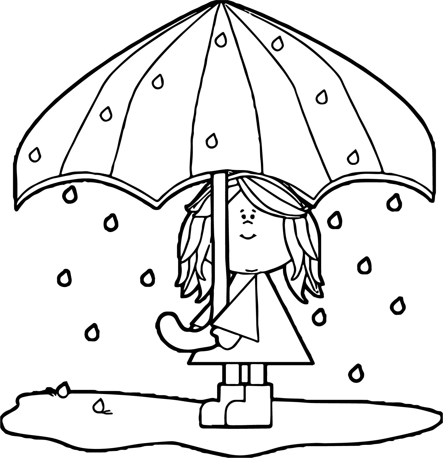 April Shower Girl Umbrella Coloring Page