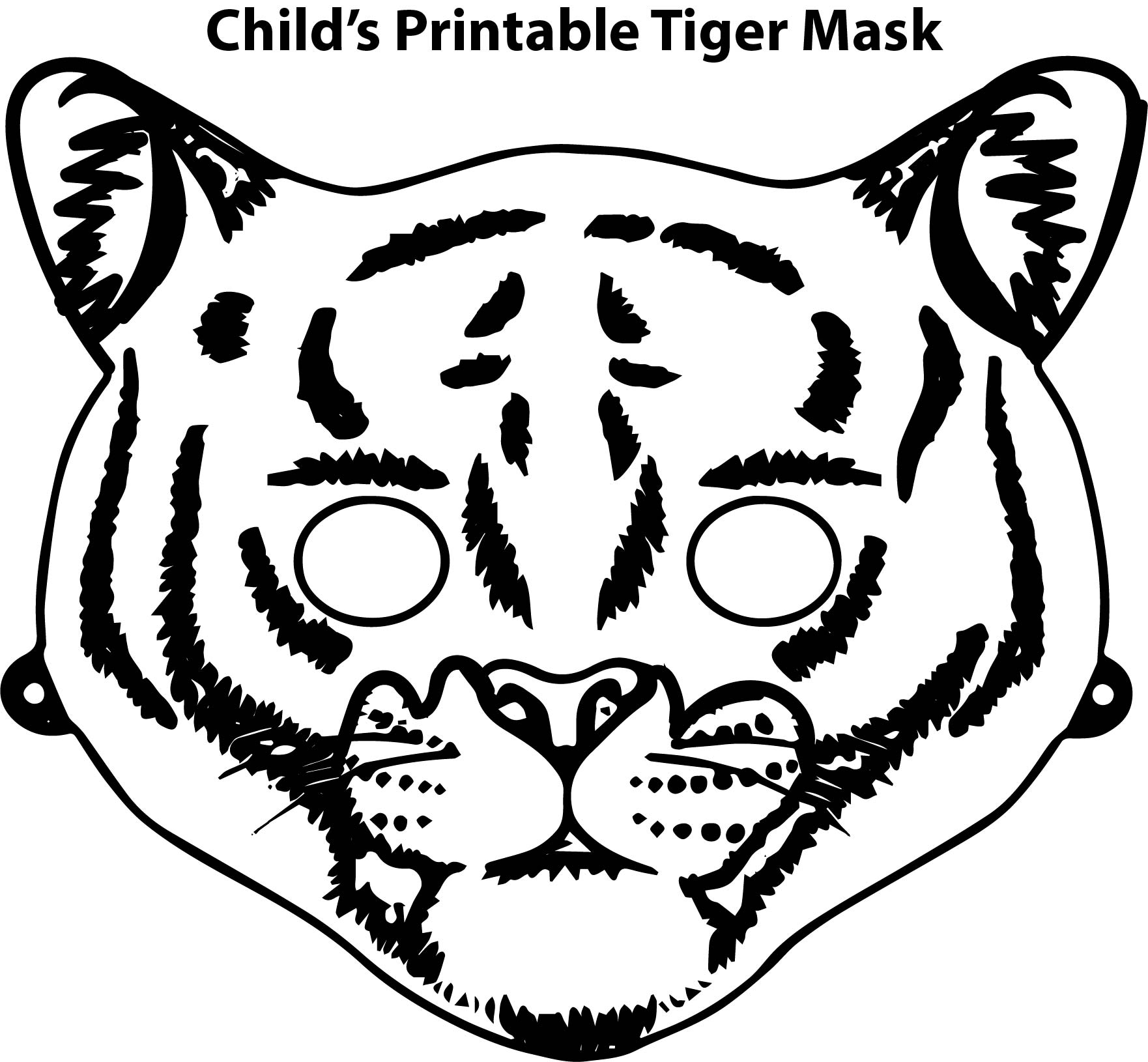 Child S Printable Tiger Mask Coloring Page