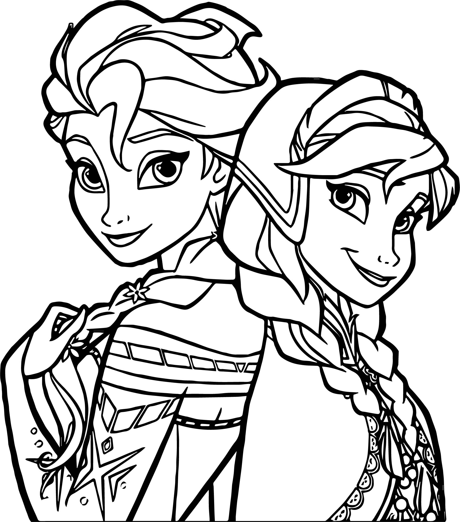Frozen Sisters Coloring Page Wecoloringpage
