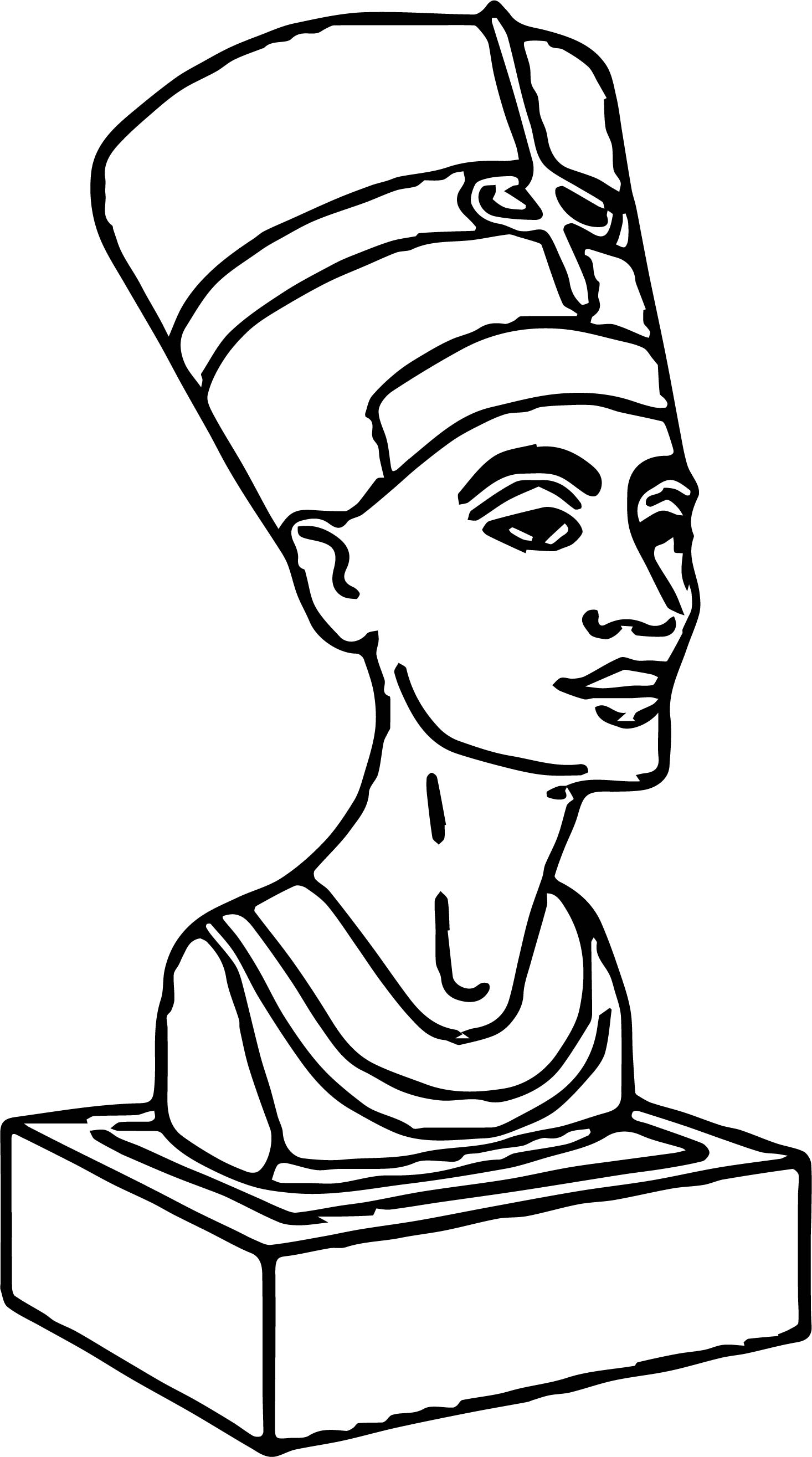 Statue Nefertiti Ancient Egyptian Coloring Page