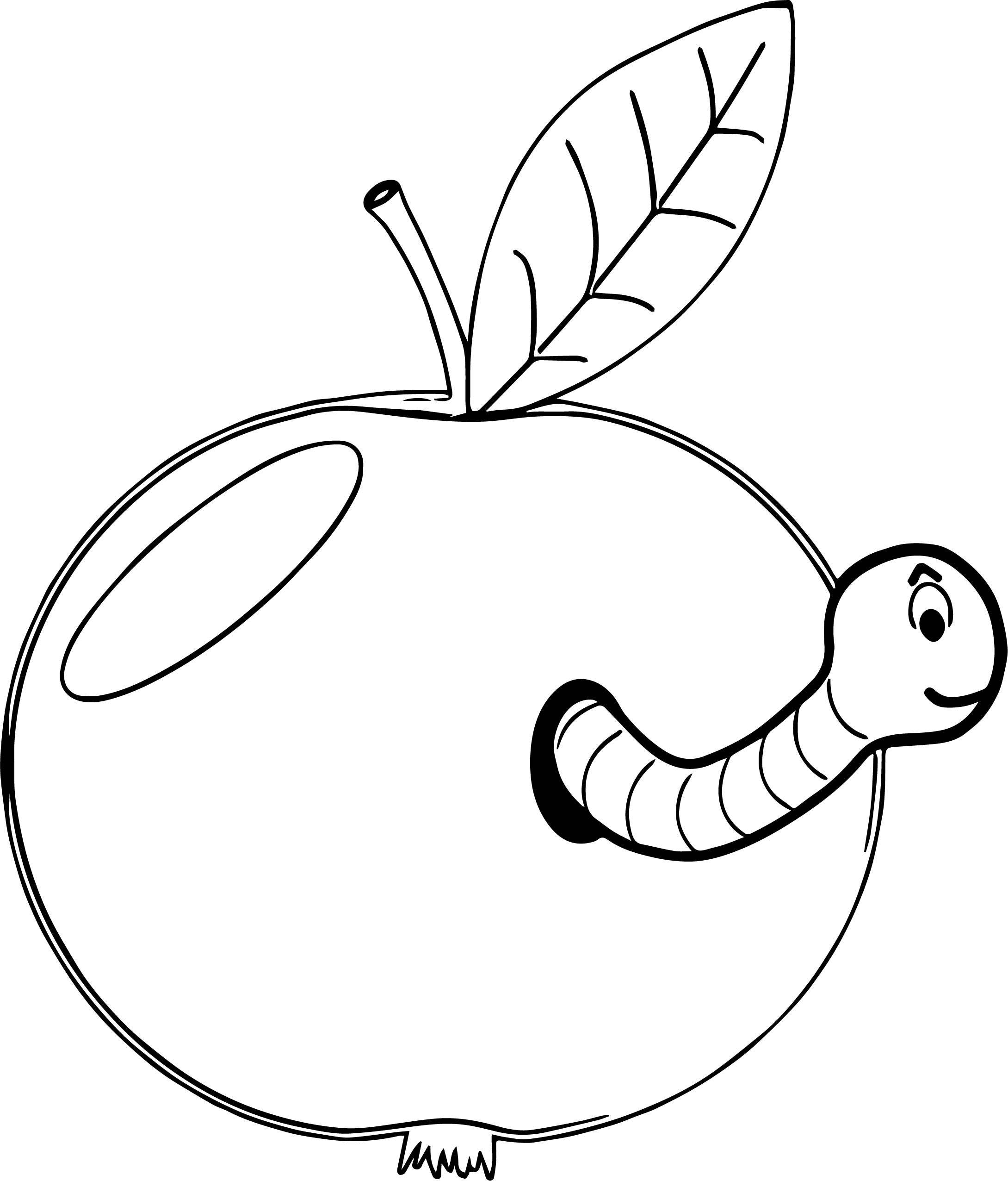 Apple And Worm Coloring Page