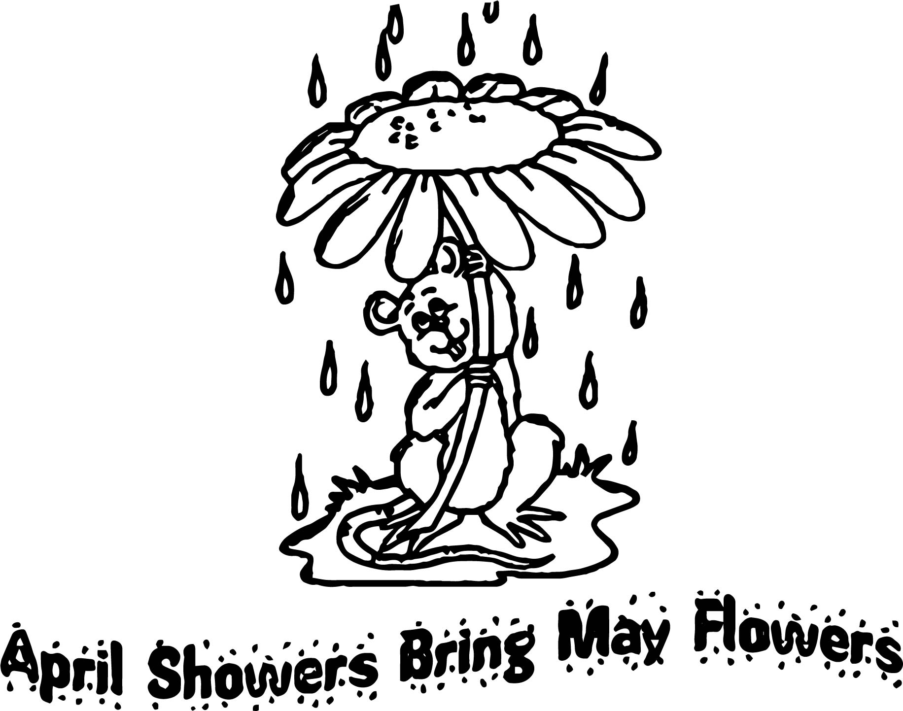 April Showers Bring May Flowers Coloring Pages Wecoloringpage