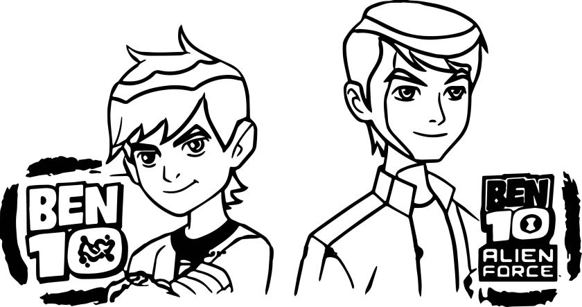 ben 10 alien force episode x ben two before after coloring