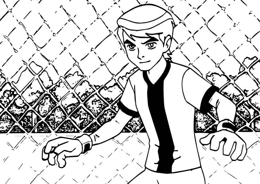 ben 10 alien force play soccer football coloring page