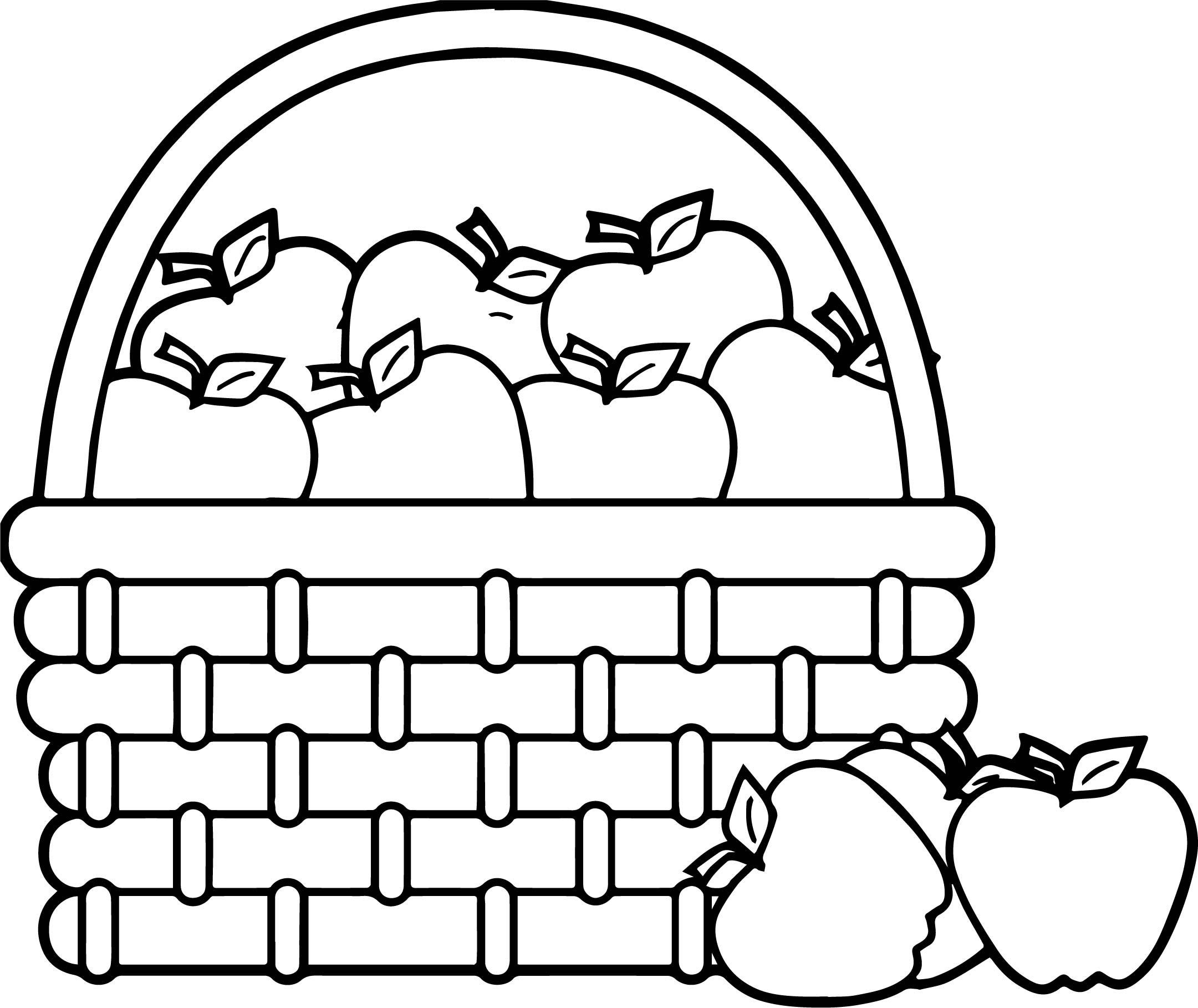 Picnic Basket Apple Basket Basket Apples Coloring Page