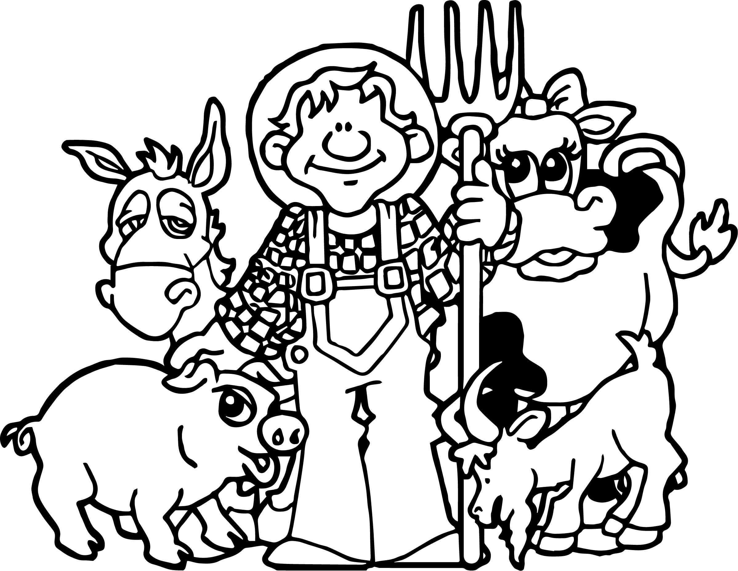 Baby Farm Animal Family Coloring Page