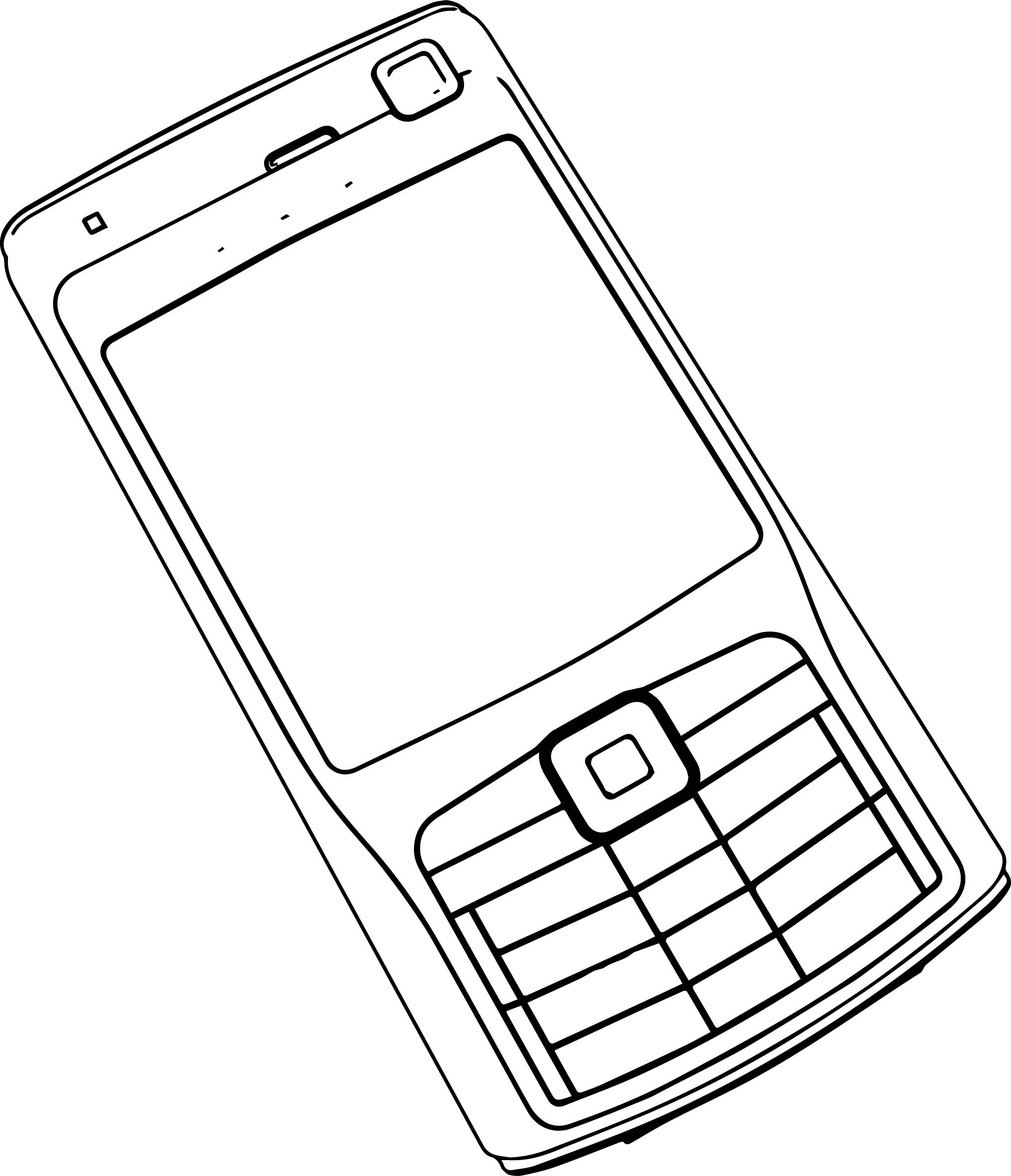 Cell Phone Clip Art Outline Sketch Coloring Page Sketch