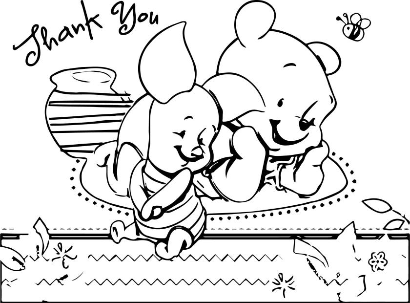 pooh bear baby thank you coloring page  wecoloringpage