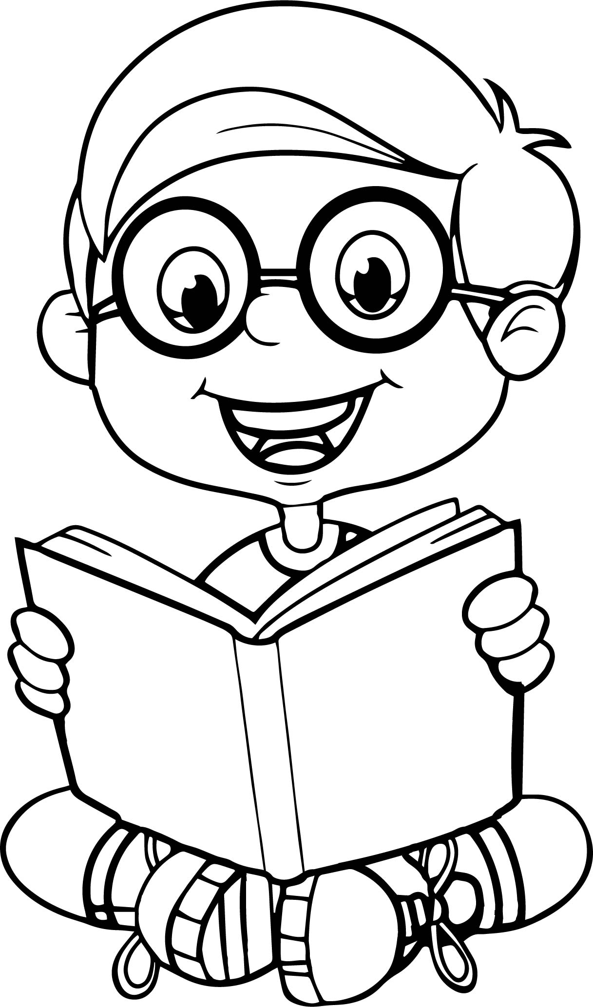 Reading A Book Cute Cartoon Kid Coloring Page Wecoloringpage